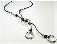 Leather Necklace Lariat Two Circle Style Drop