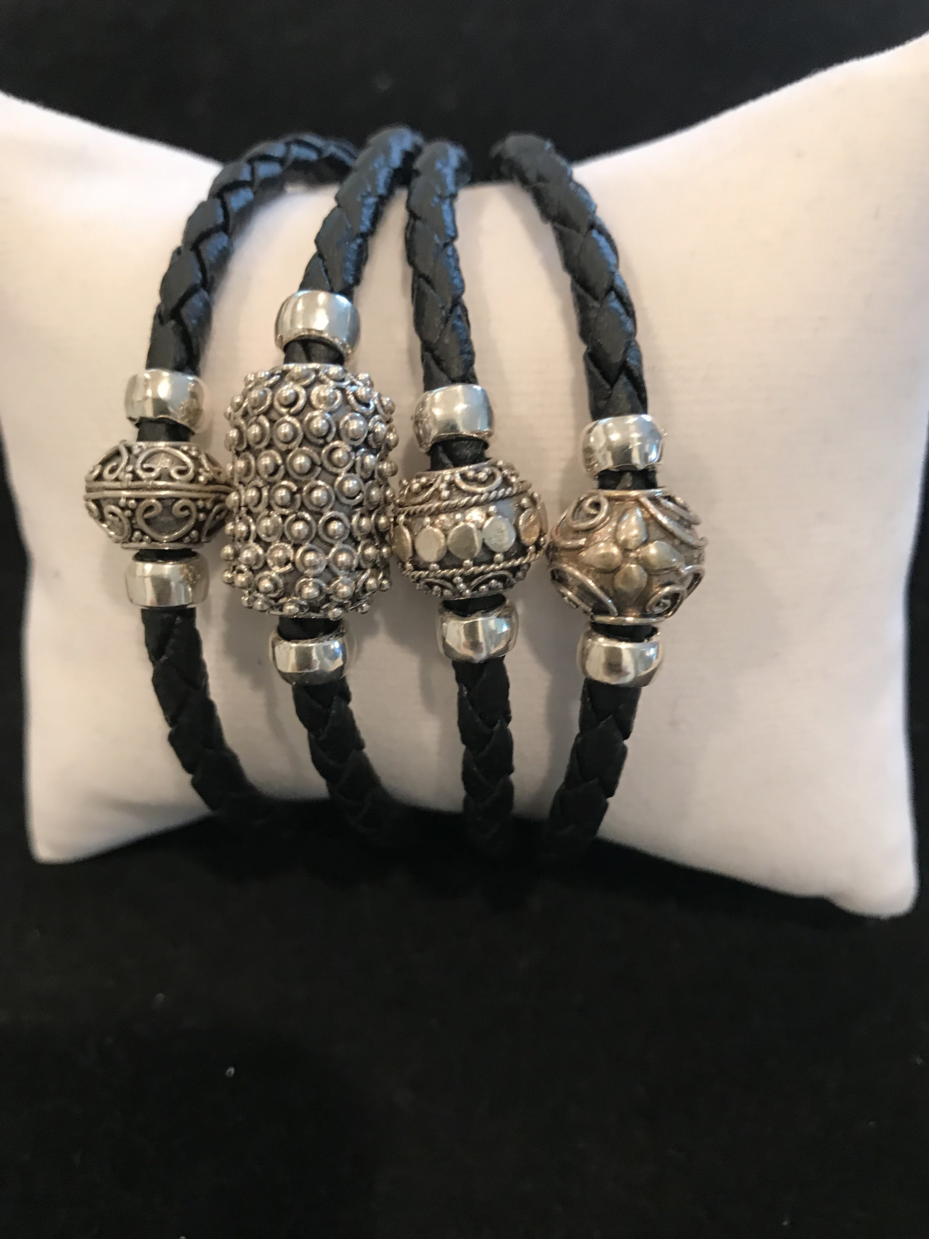 Black Leather With Bali SS Beads BR-AGL-2339 Black