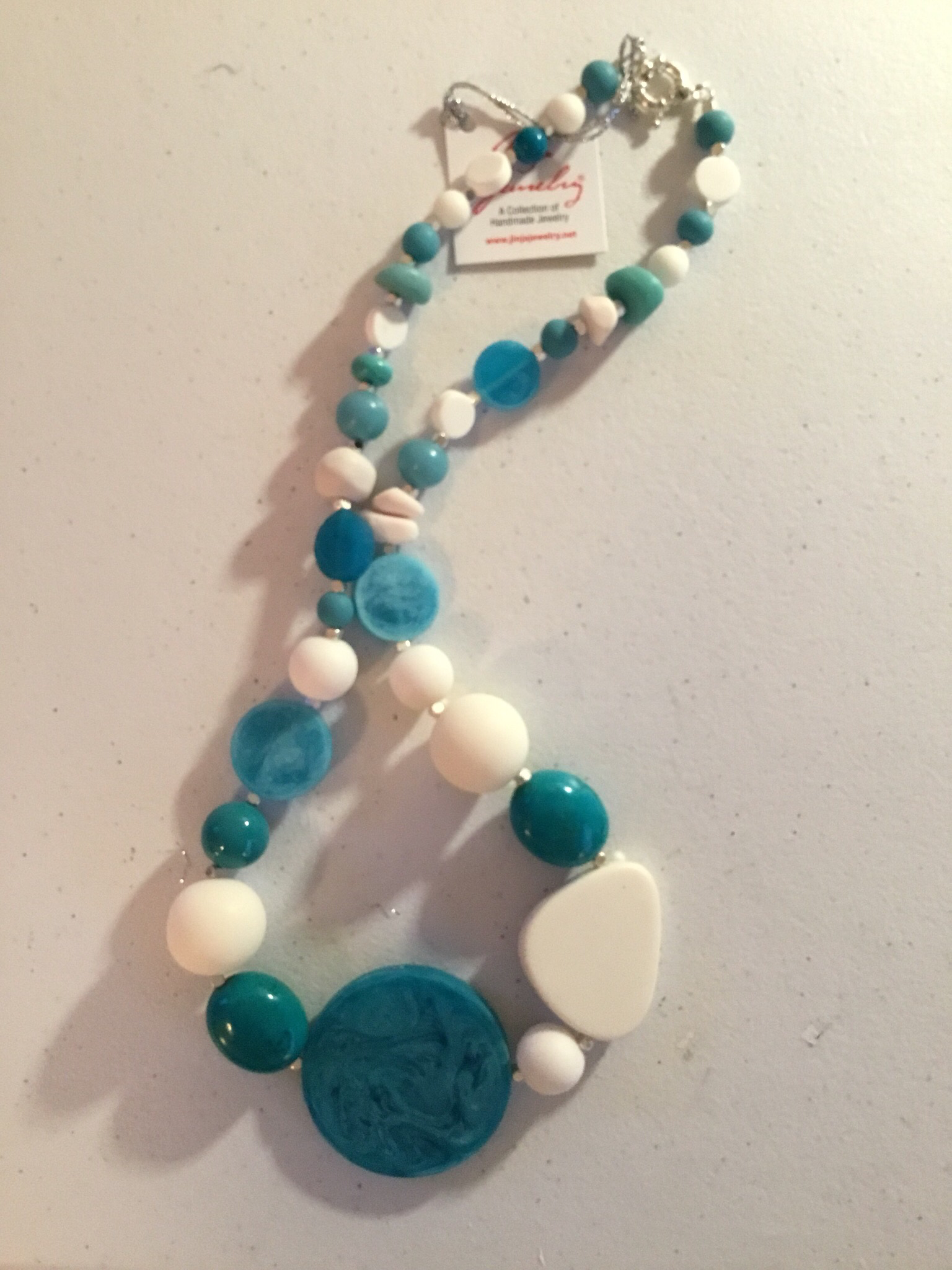 Turquoise and White Short Necklace 1391-TW