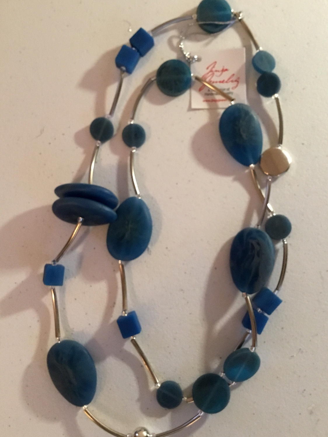 Blue Denim Stainless Steel Long Necklace