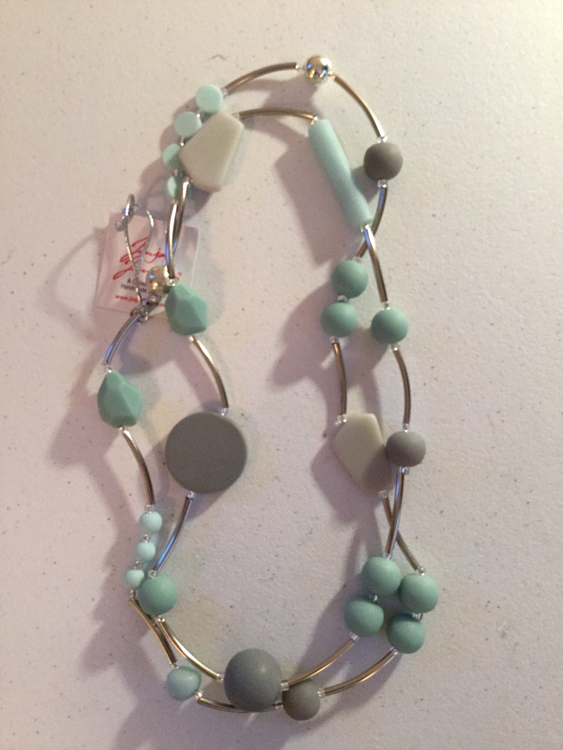 Mint and Gray Long Stainless Steel Necklace