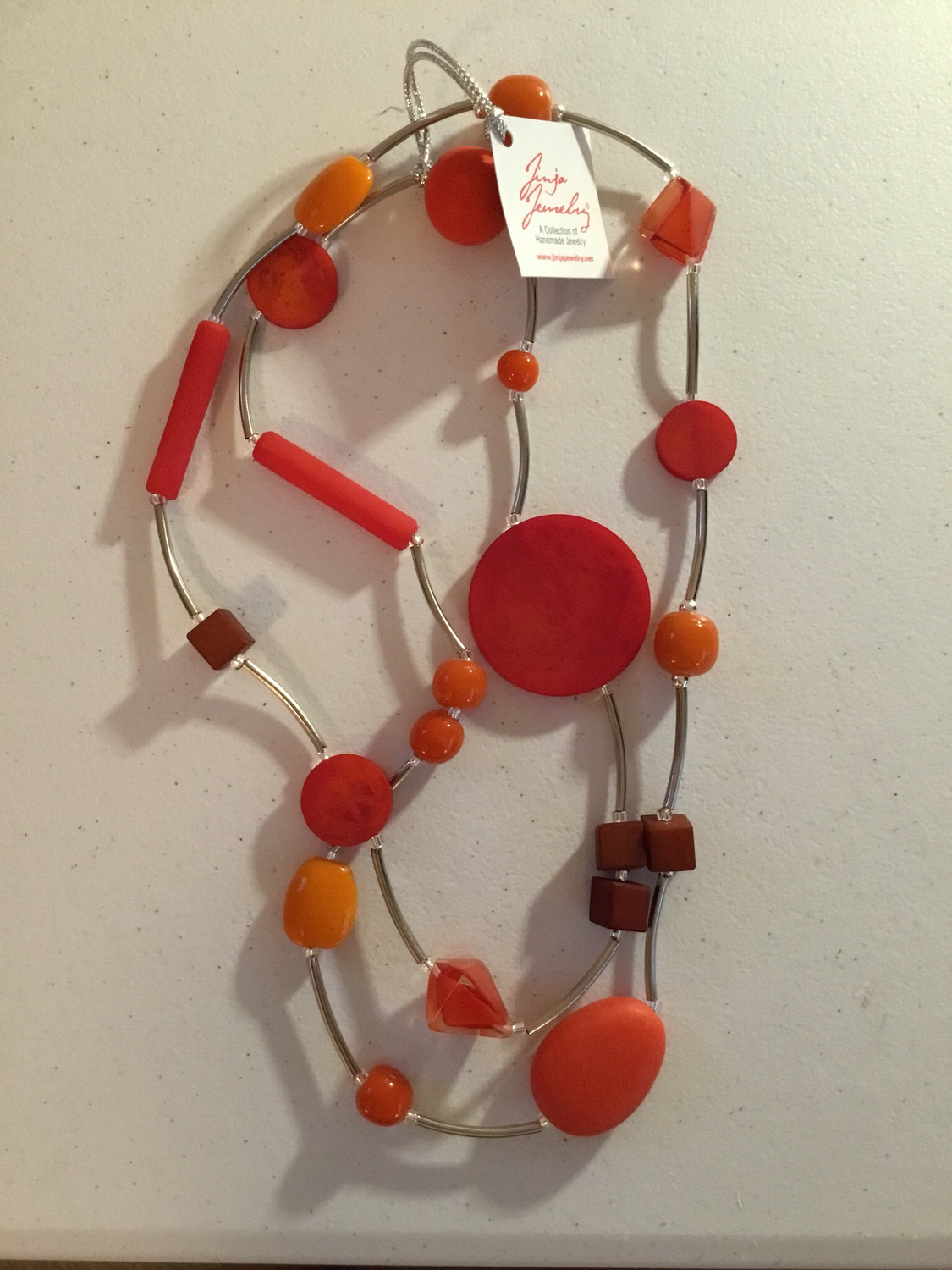 Orange Mixed Beads Stainless Steel Long Necklace