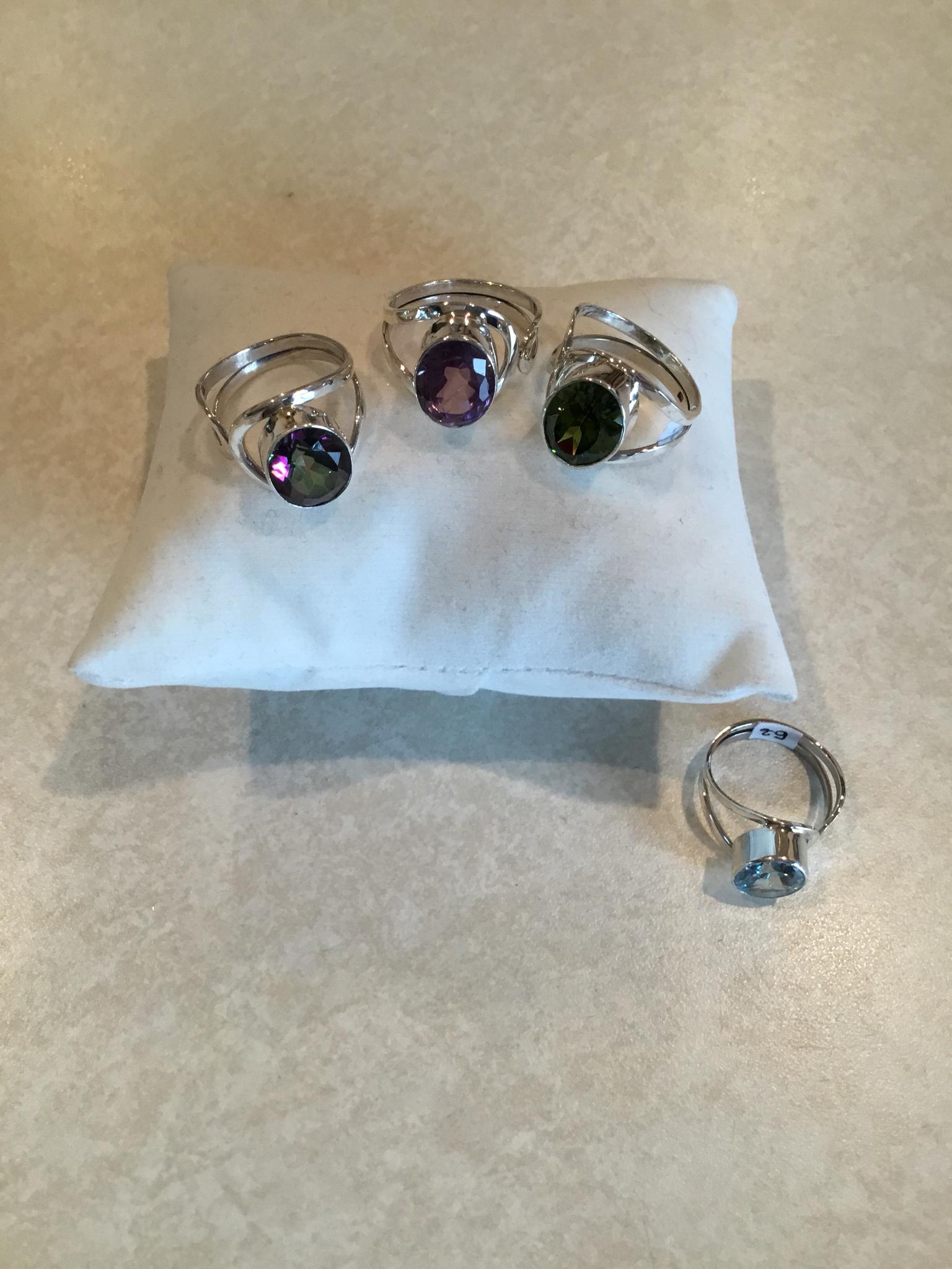 Sterling Silver Natural Gemstone Adjustable Ring R-124-105-Gemstone