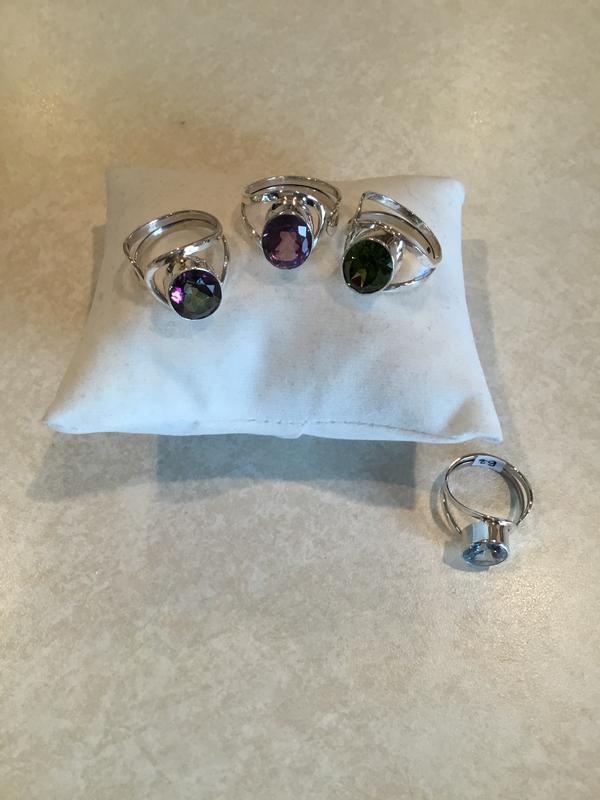 Sterling Silver Natural Gemstone Adjustable Ring