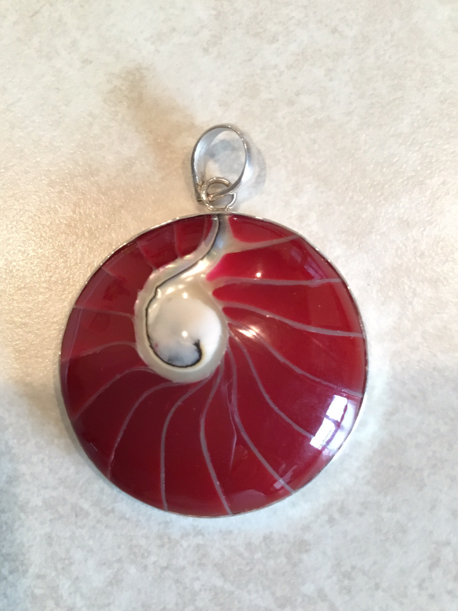 Sterling Silver Red Coral Shell Pendant P-09113-R