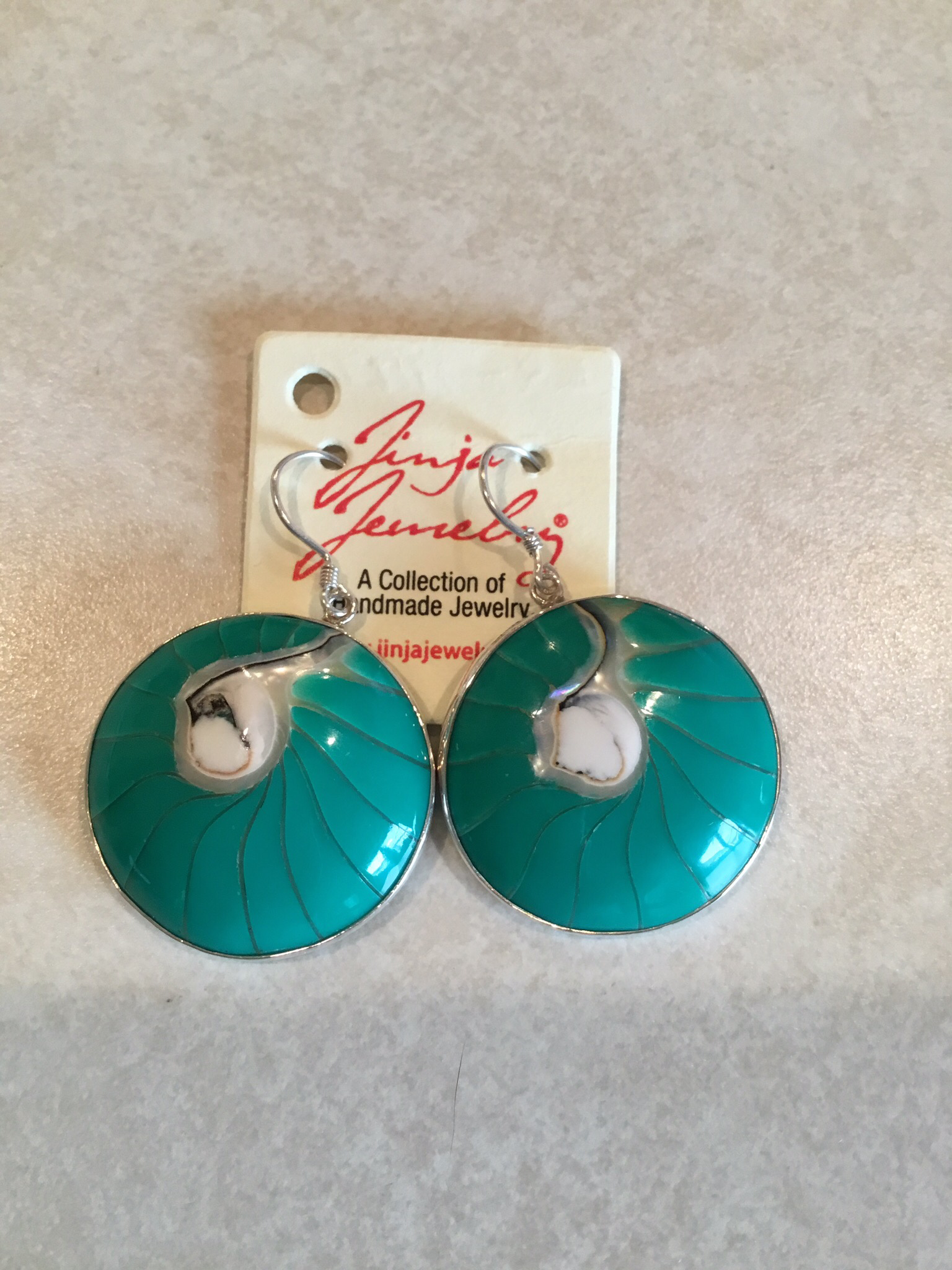 Sterling Silver Turquoise Shell Earrings  ER-09127-T