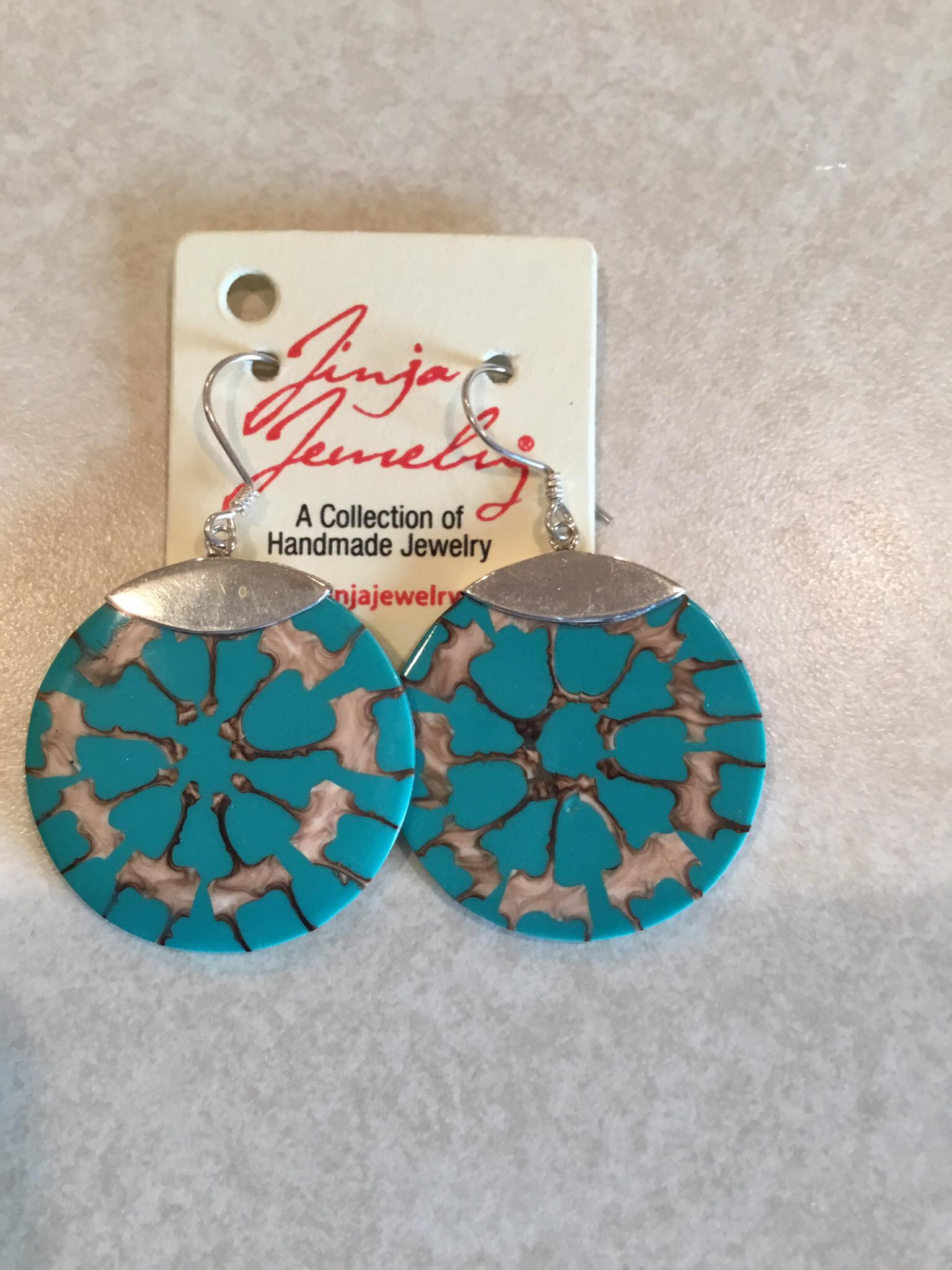 Sterling Silver Turquoise Cross Cut Earrings  ER-09116-T