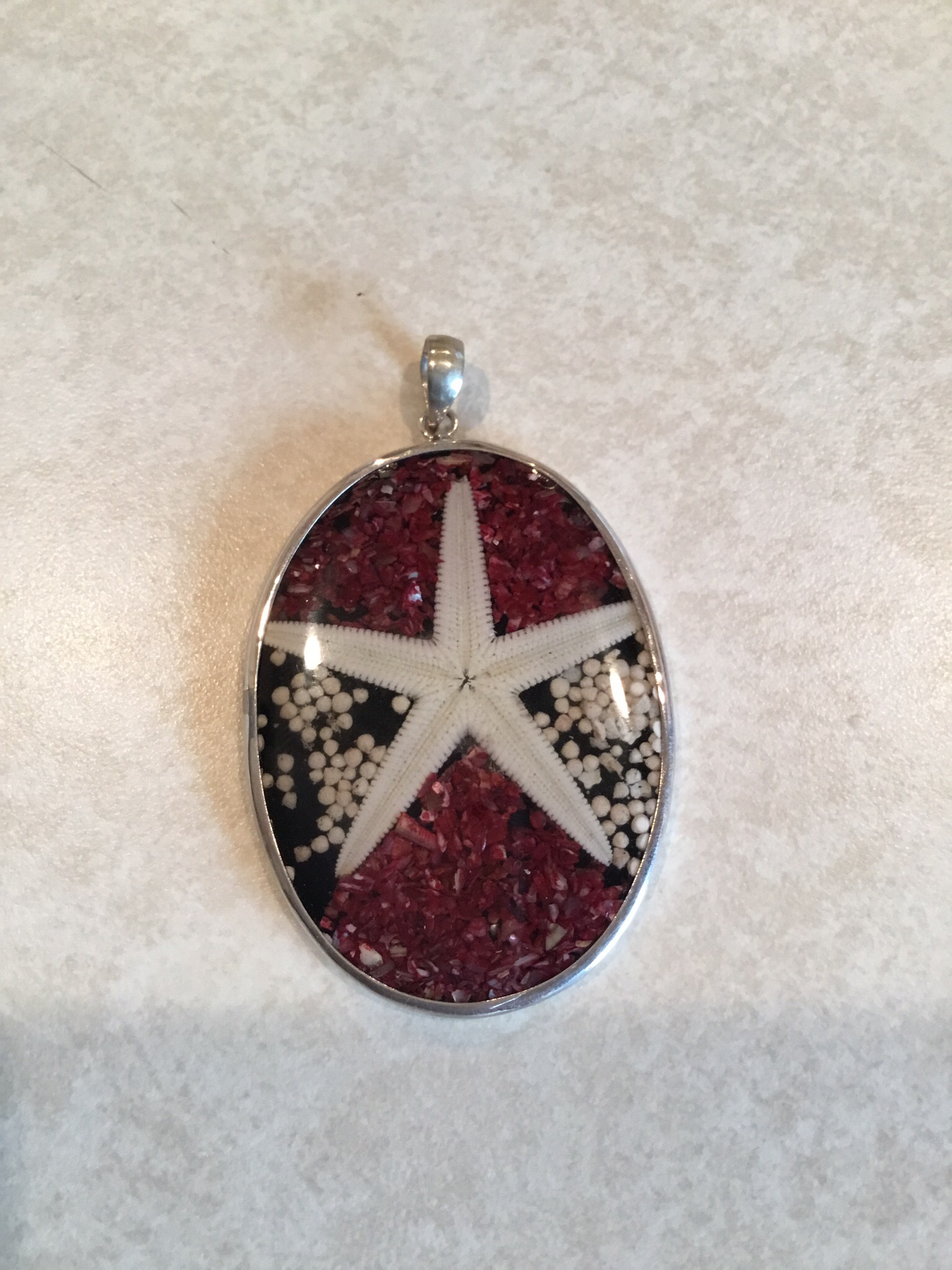 Sterling Silver Starfish Pendant in Sand P-09114
