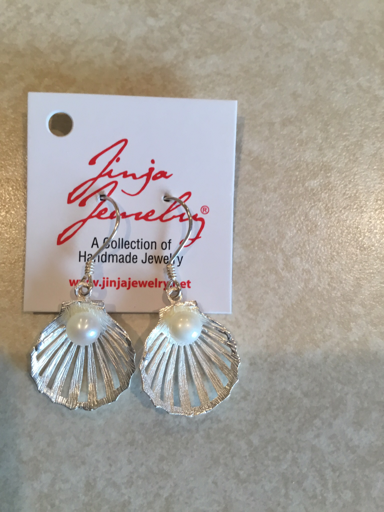 Sterling Silver Shell with Pearl Earrings ER-09147