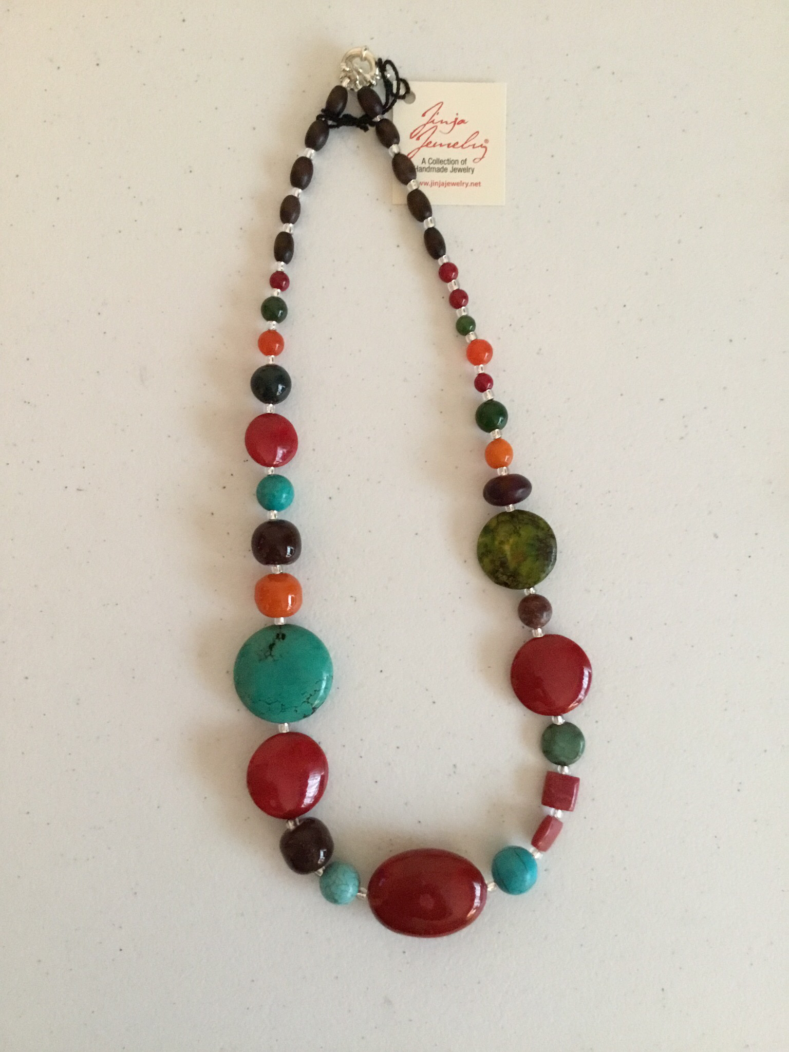 Red Coral Turquoise Sterling Silver Necklace  1027