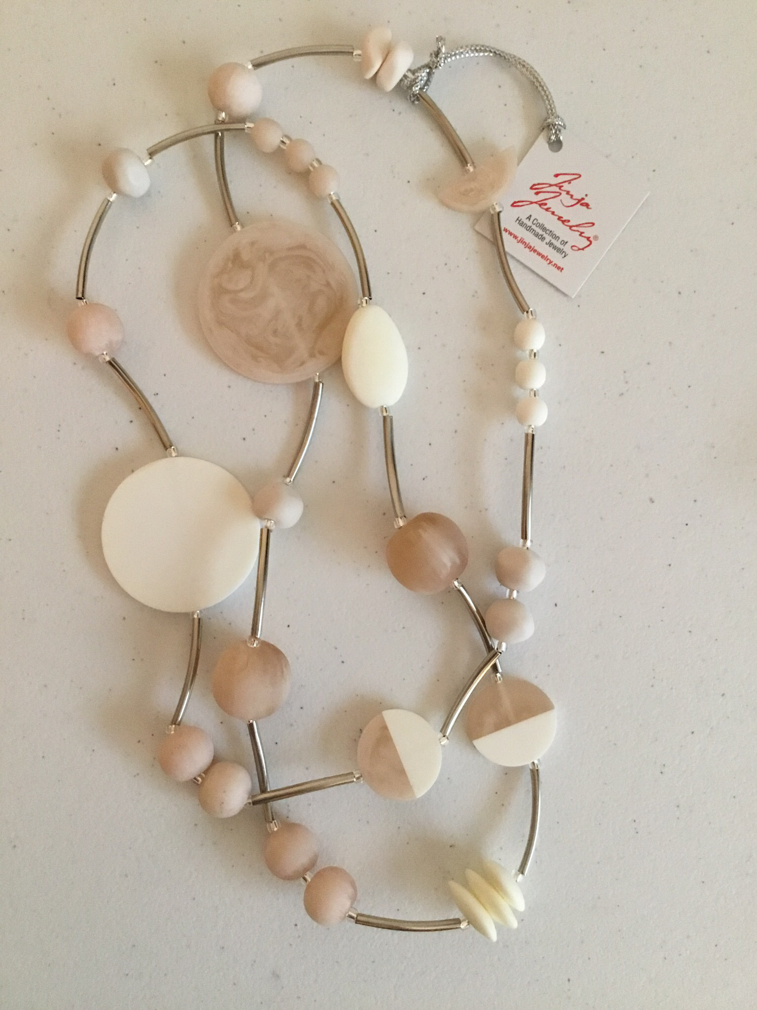 Smoky Pink White with Stainless Steel Necklace 1441