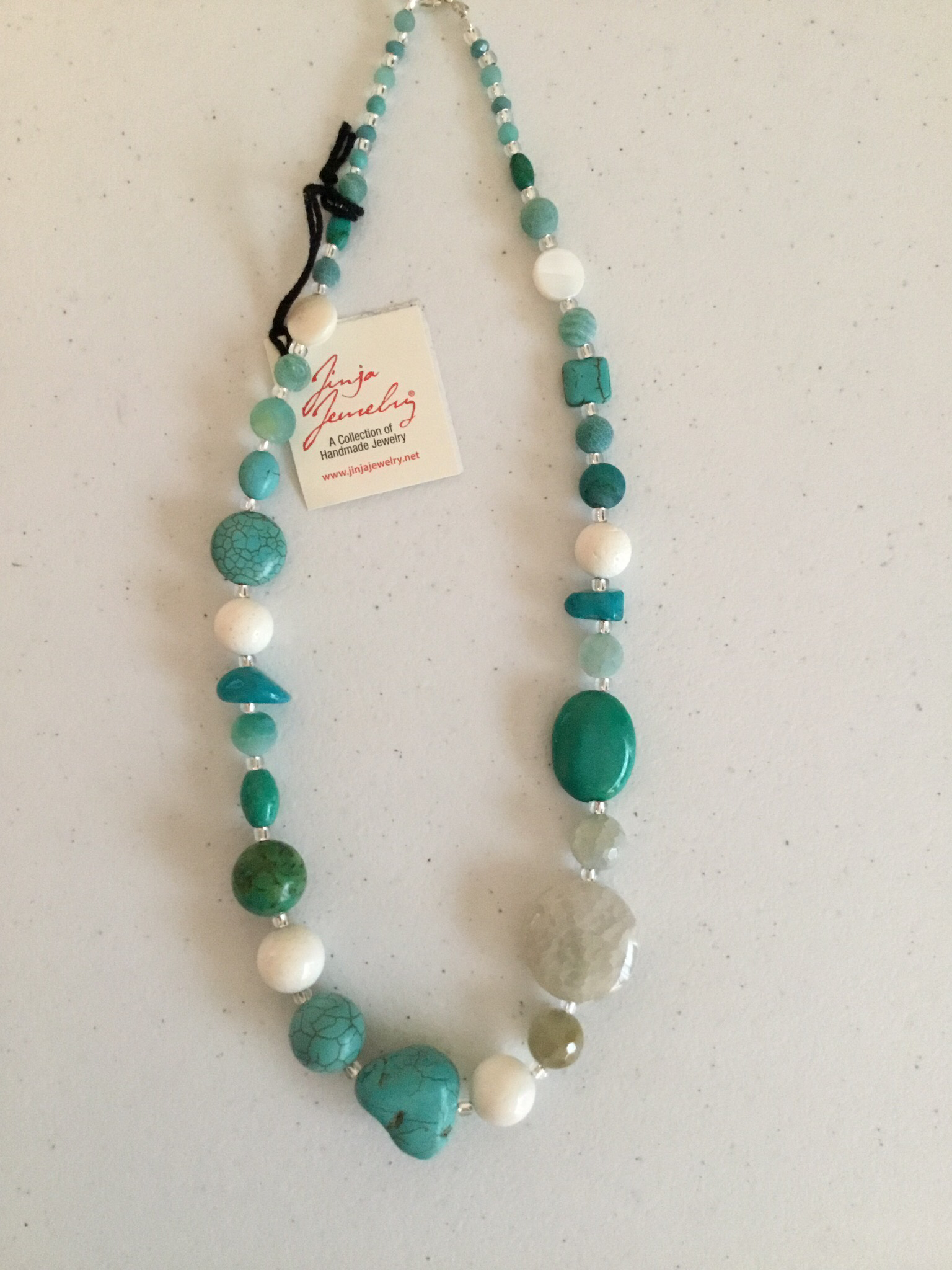 Sterling Silver Turquoise White Coral Agate Necklace  1228