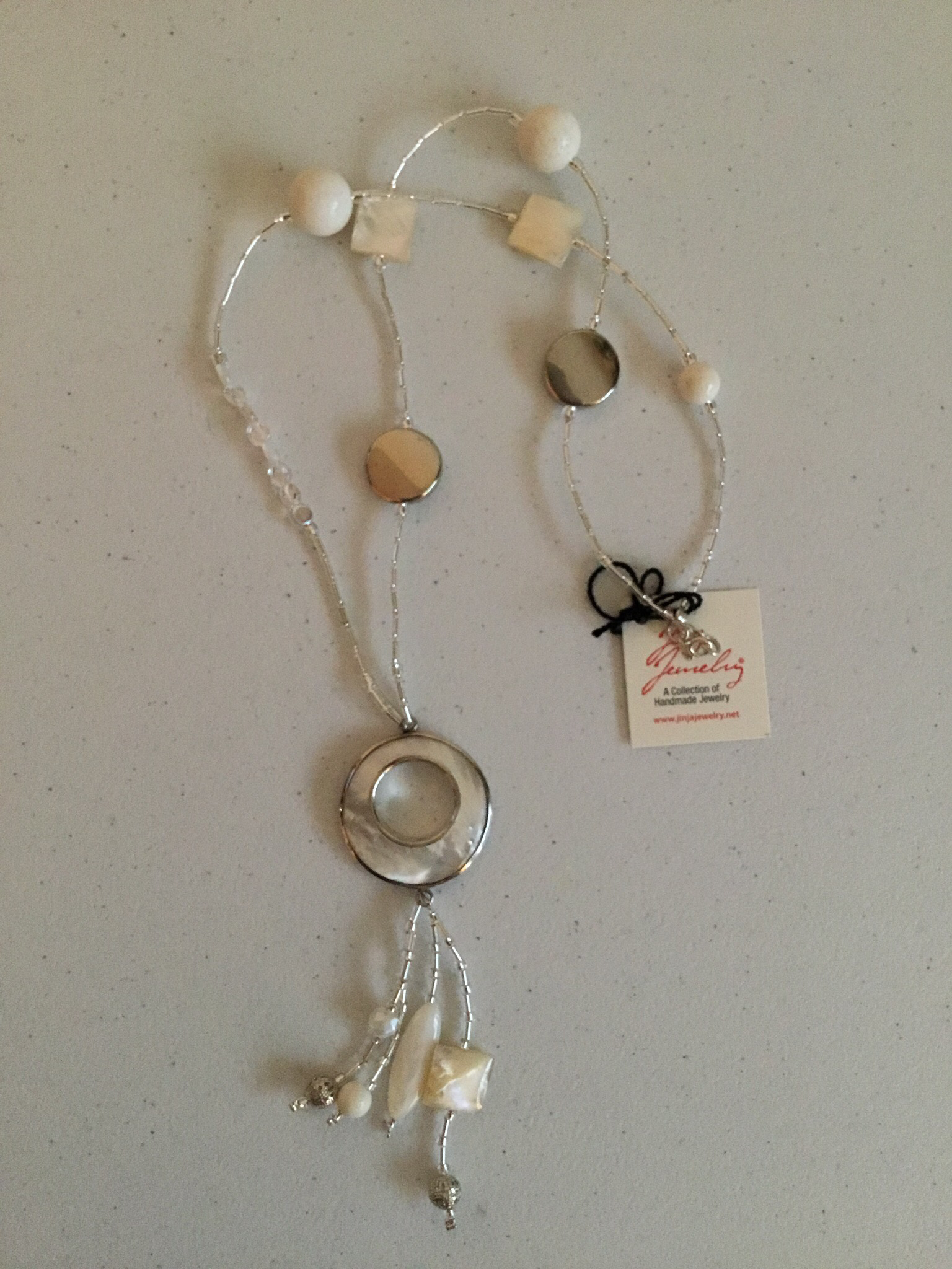 Sterling Silver Mother Of Pearl White Coral Necklace 643 White