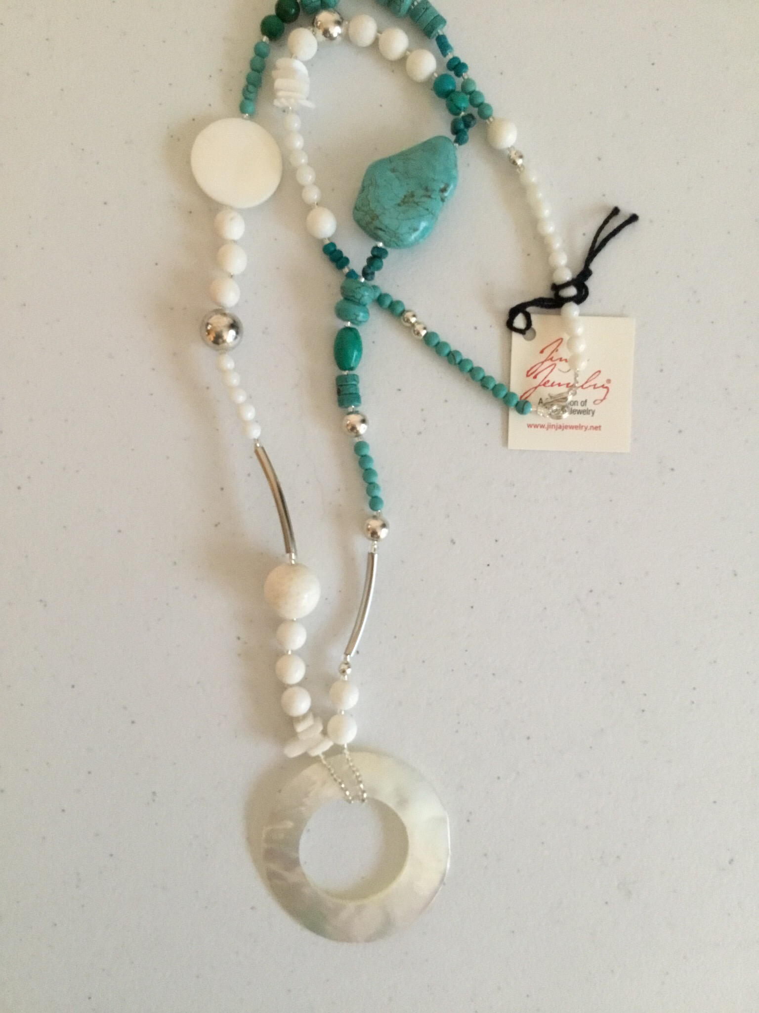Stainless Steel Turquoise Mother of Pearl Necklace   948
