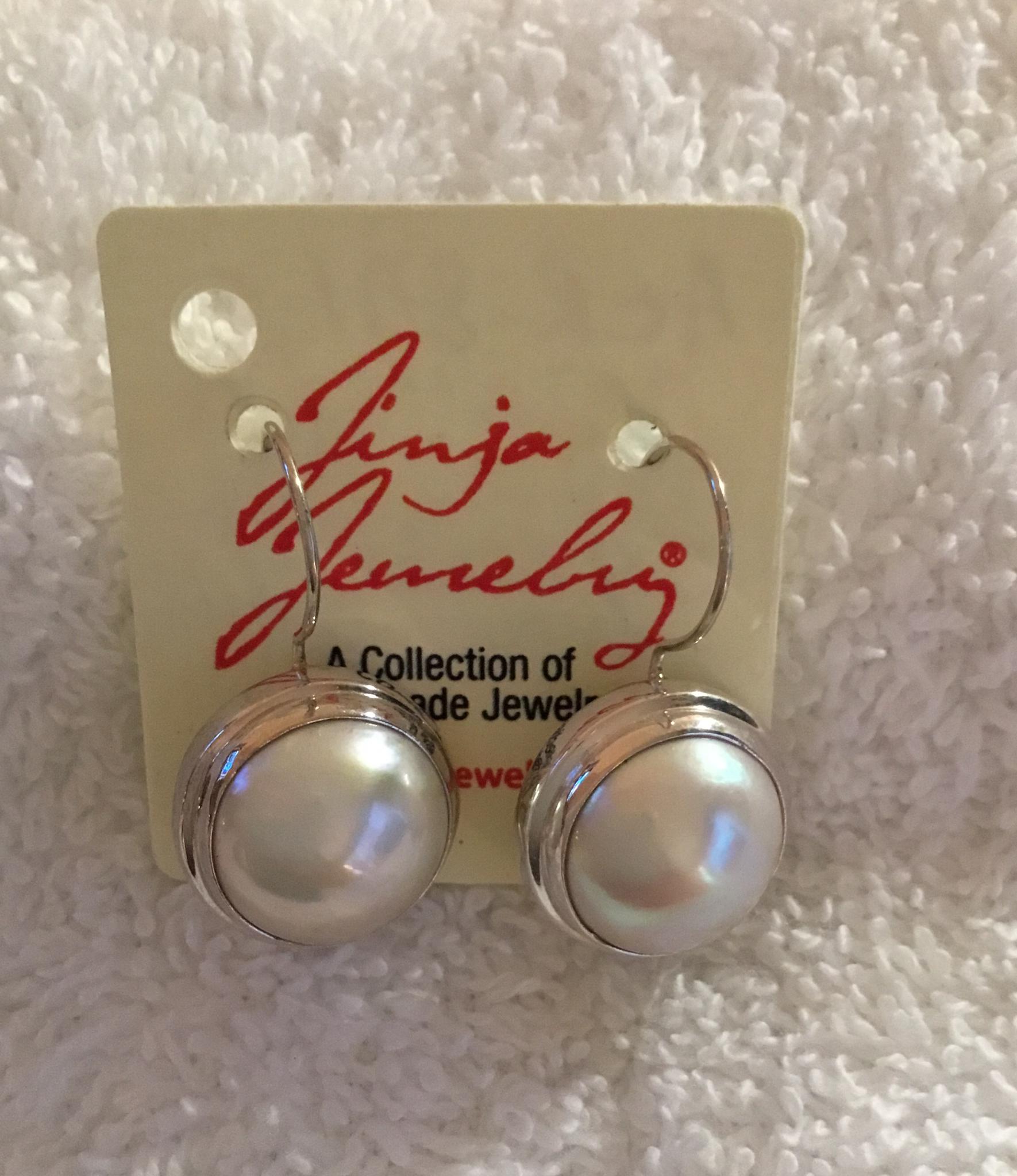 Sterling Silver Mabe Pearl Earrings Black