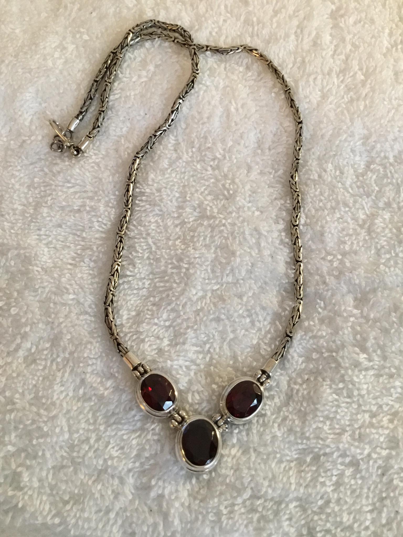 Sterling Silver Natural Gemstone Necklace