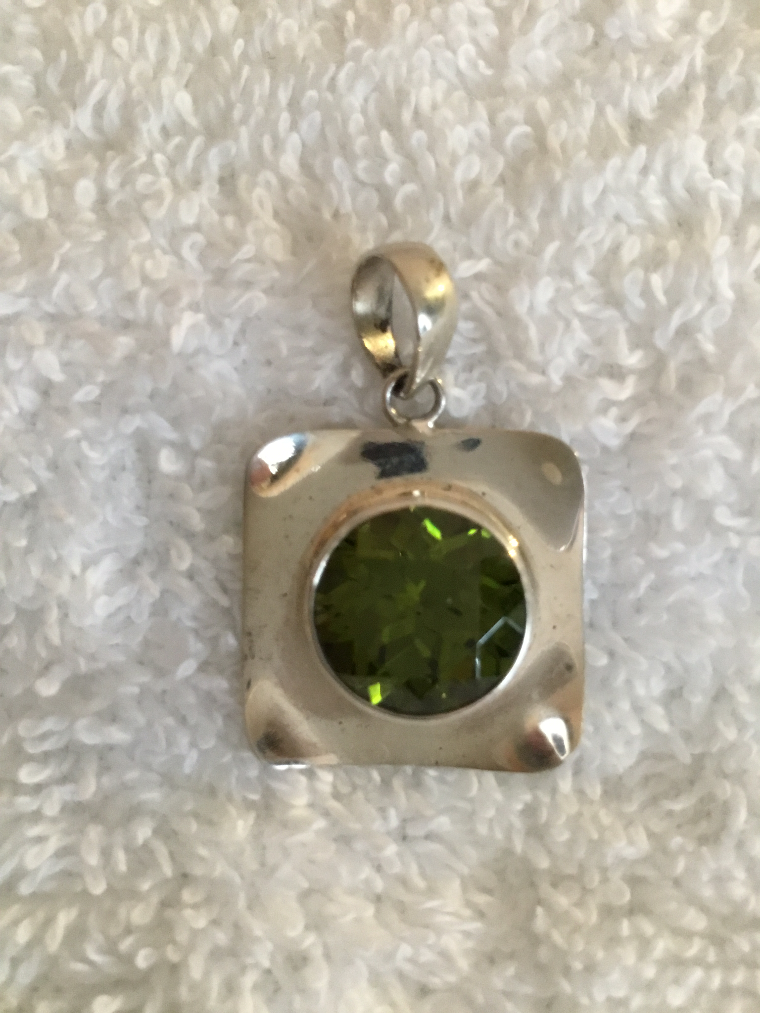 Sterling Silver Square Lg Gemstone Pendant