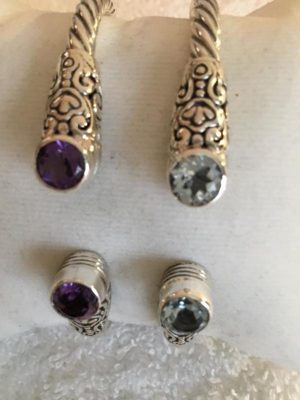 Sterling Silver Hinged Rd Gemstone Bracelet