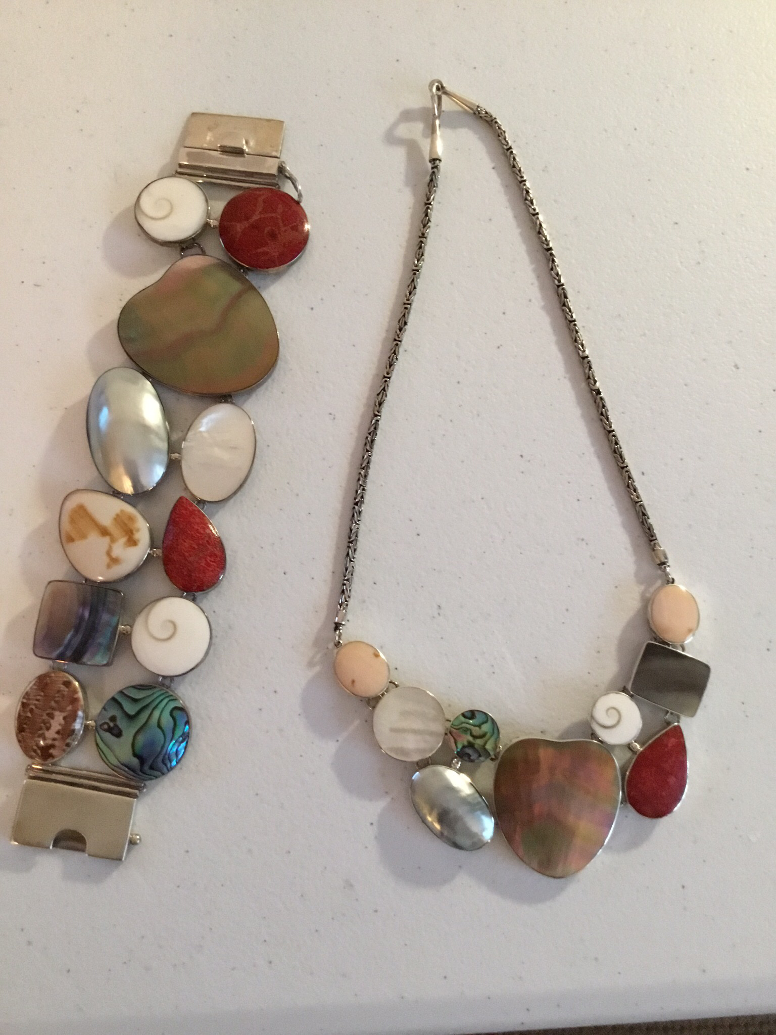 Sterling Silver Mixed Shell Necklace  AKL-782