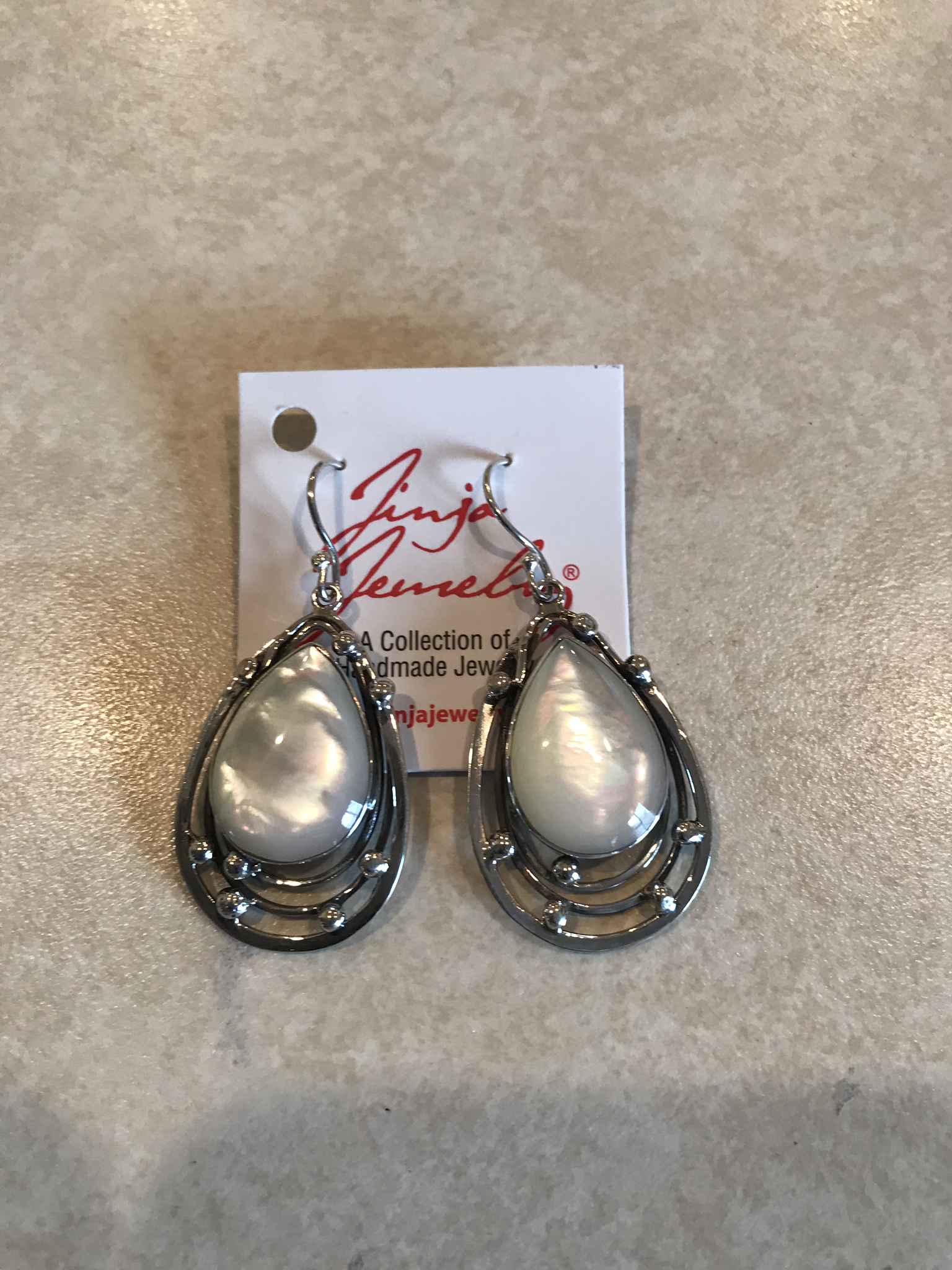 Sterling Silver Mother Of Pearl Teardrop Earrings AER-NK-4Mop