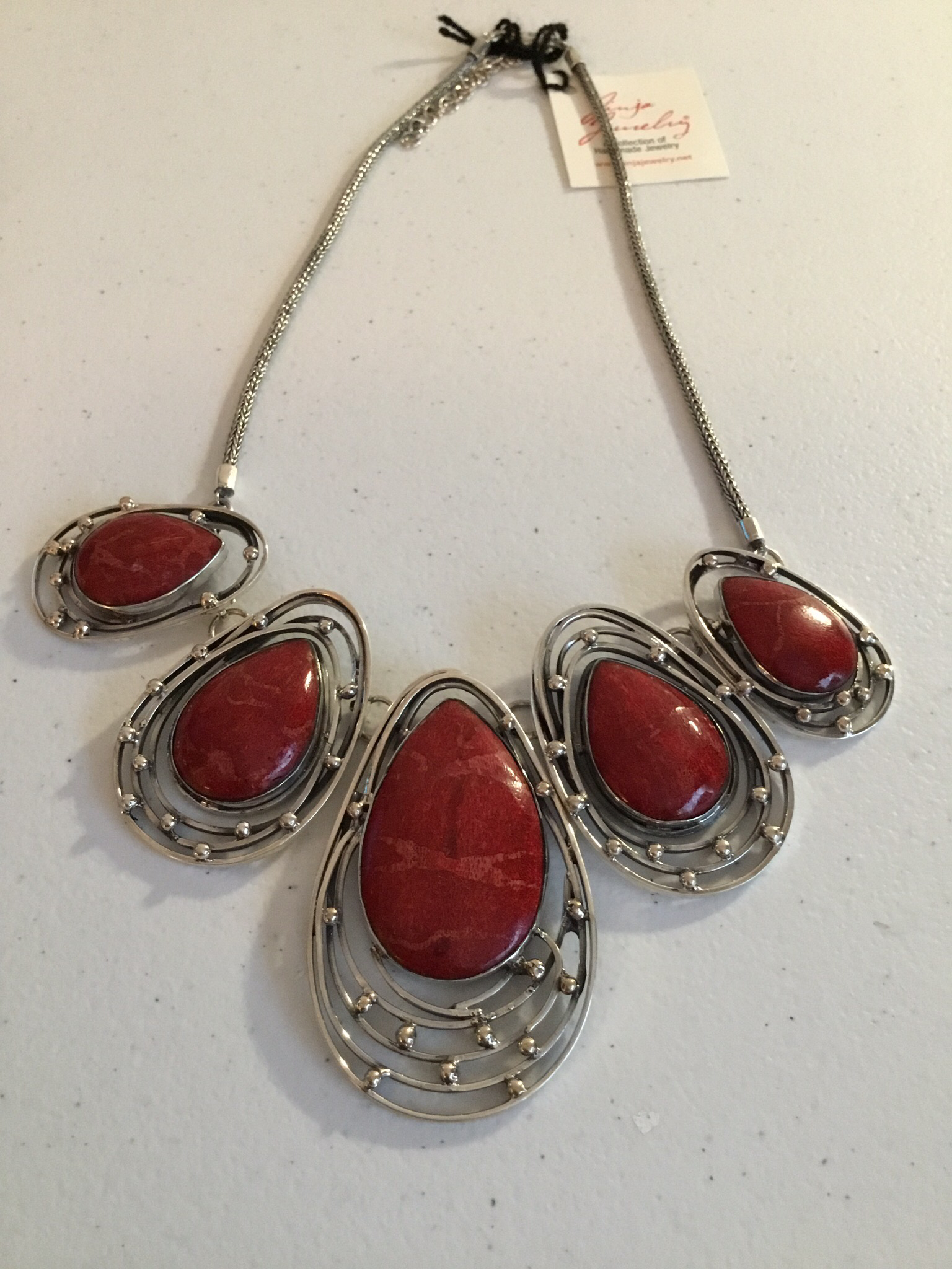 Sterling Silver Handmade Red Coral Necklace  AKL-789-Red Coral
