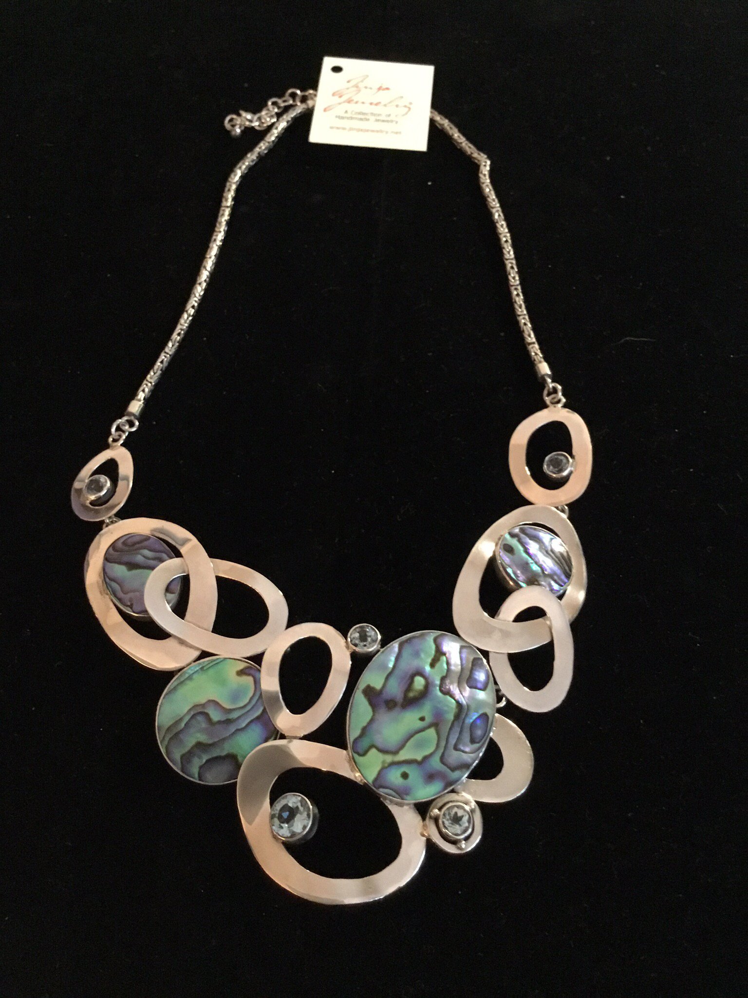 Sterling Silver Handmade Abalone And Blue Topaz Necklace AKL-749