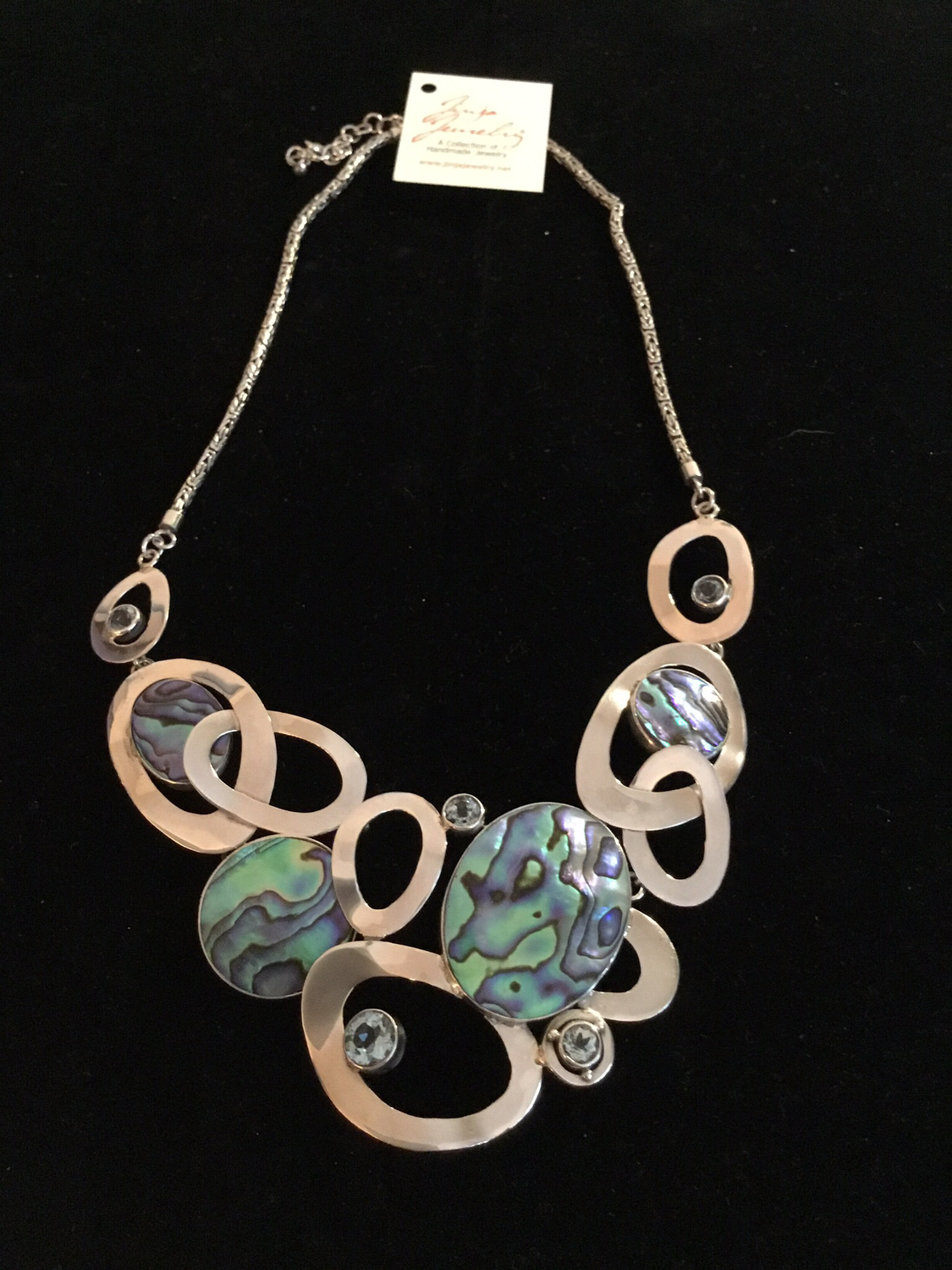 Sterling Silver Handmade Abalone And Blue Topaz Necklace