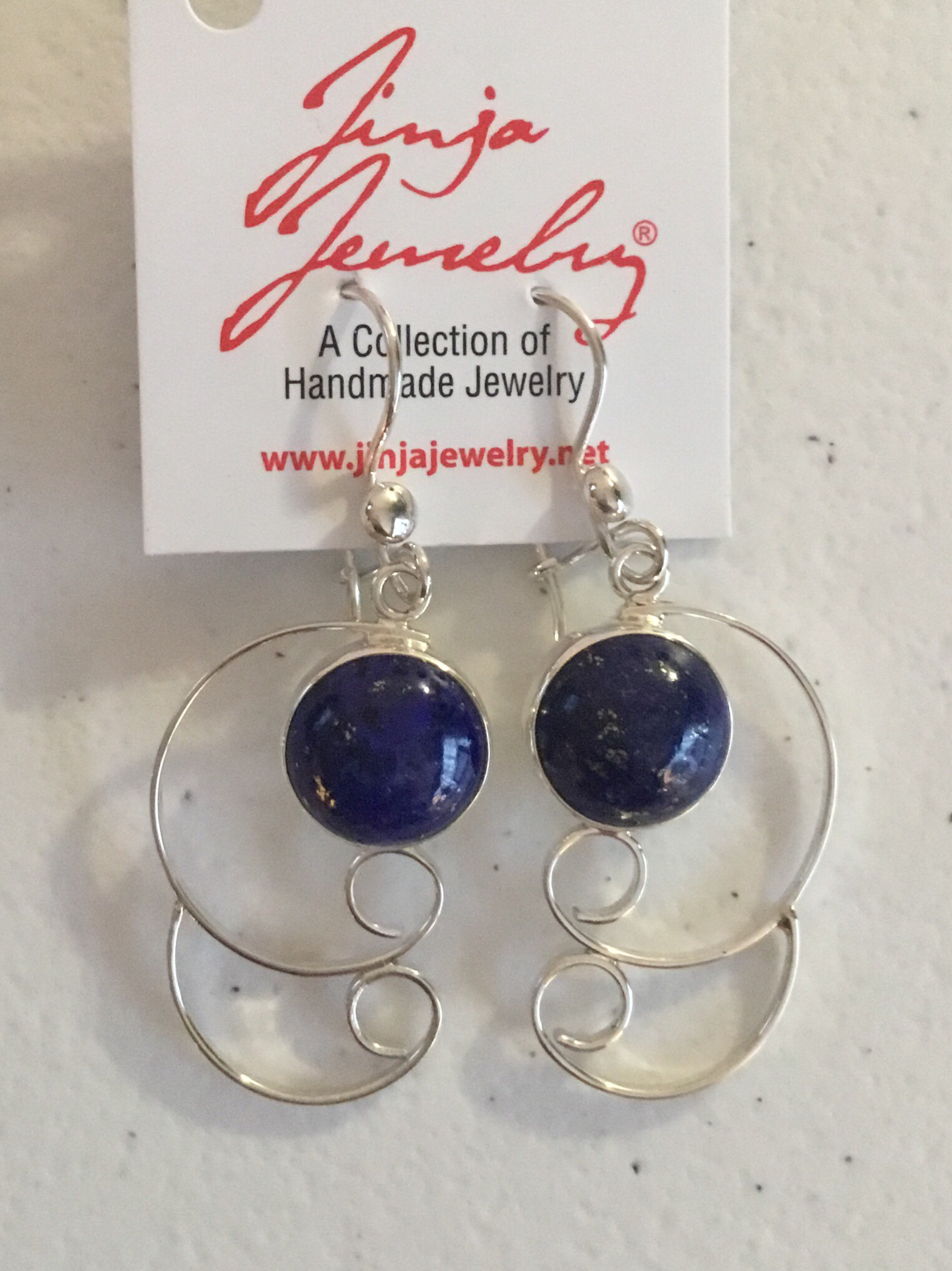 Sterling Silver Handmade Lapis Earrings  ER-09144 Lg