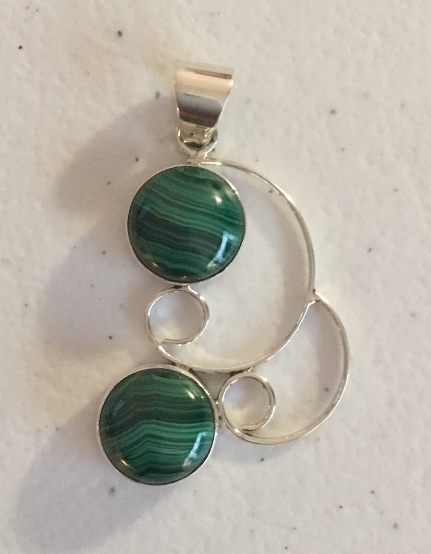 Sterling Silver Handmade Malachite Pendant