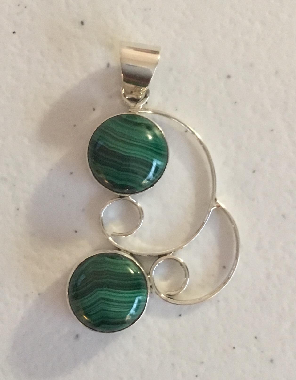 Sterling Silver Malachite Handmade Earrings  ER-09144