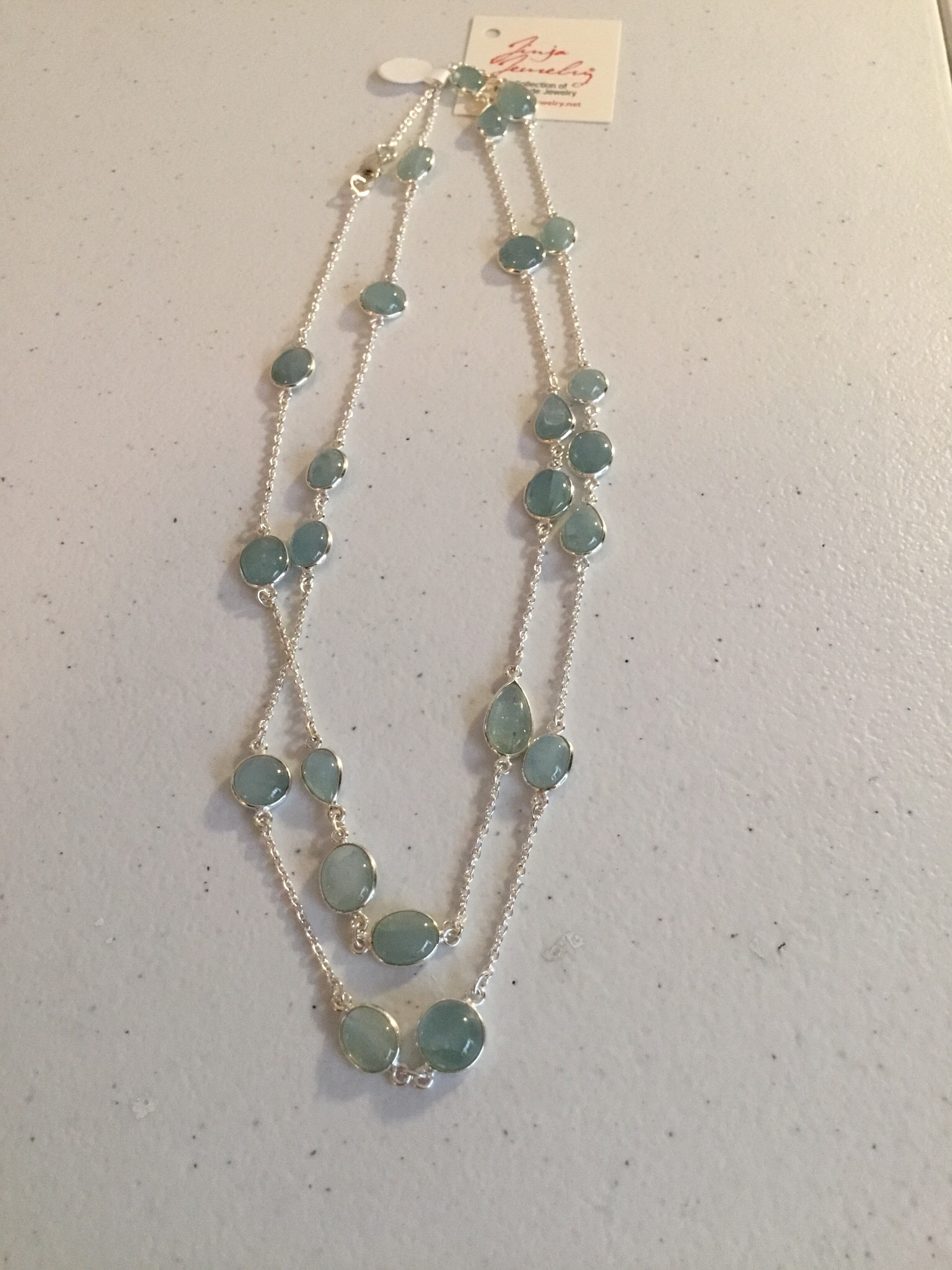 Sterling Silver Handmade Baby Blue Jade Necklace  AKL-751-B