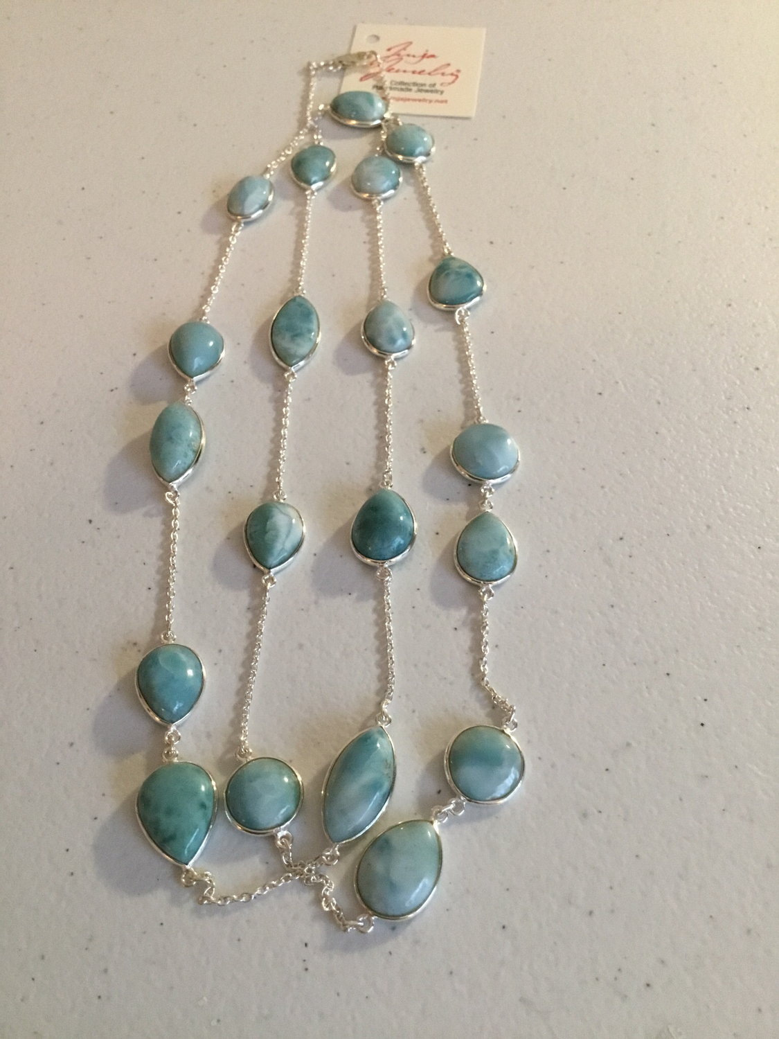 Sterling Silver Handmade Long Larimar Necklace