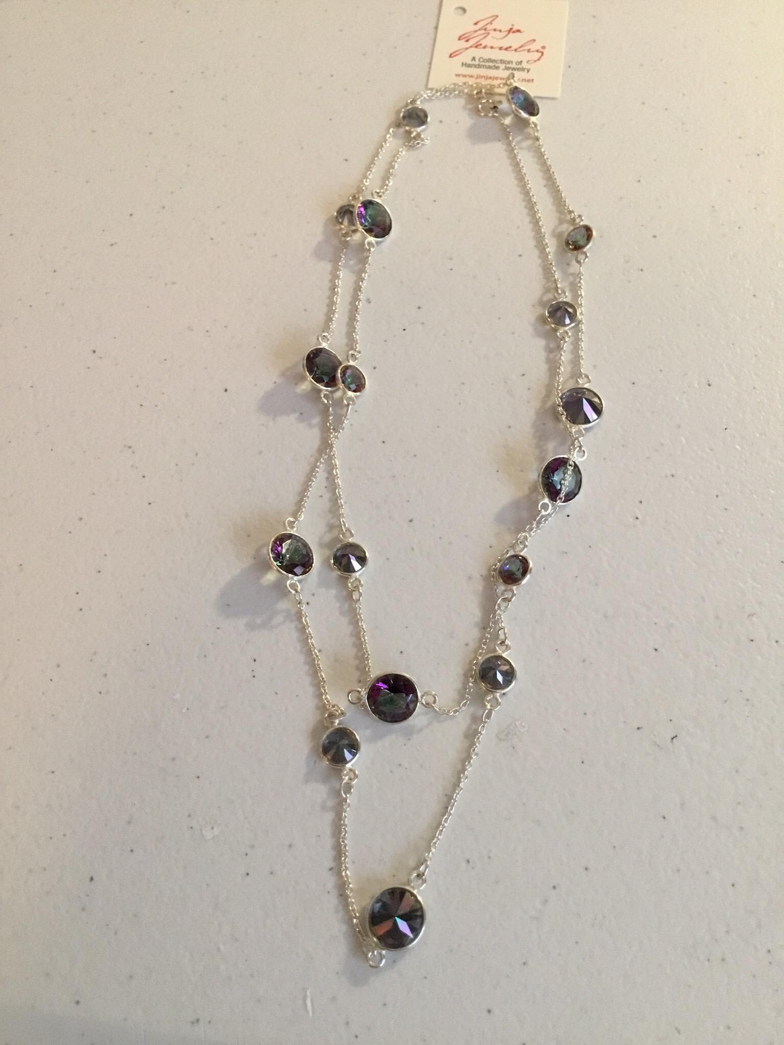 Sterling Silver Handmade Mystic Topaz Necklace AKL-791
