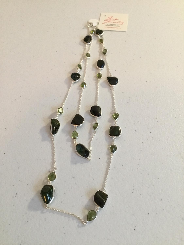 Sterling Silver Handmade Green Jade And Peridot