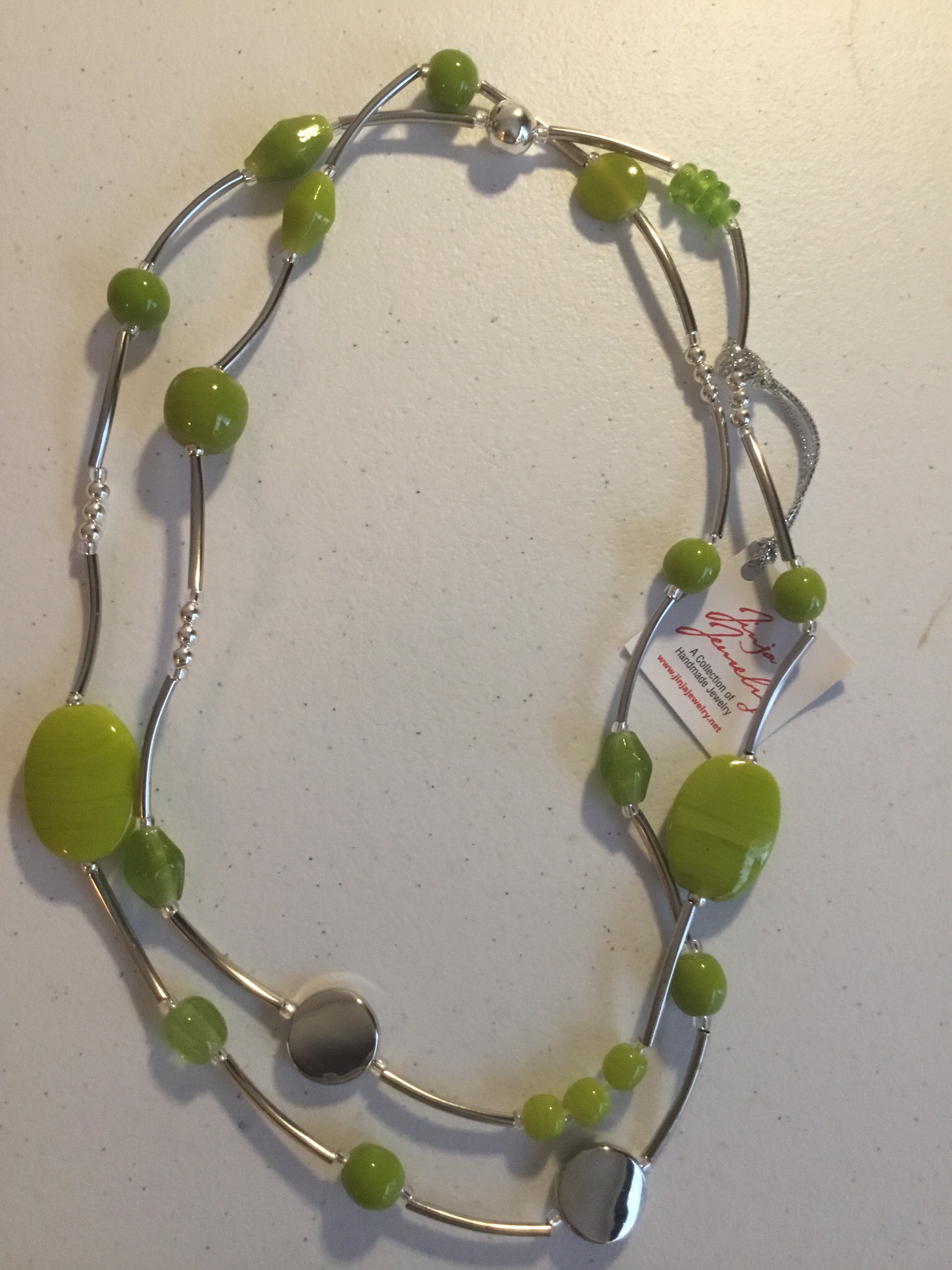 Stainless Steel Lime Green Necklace  628-Green