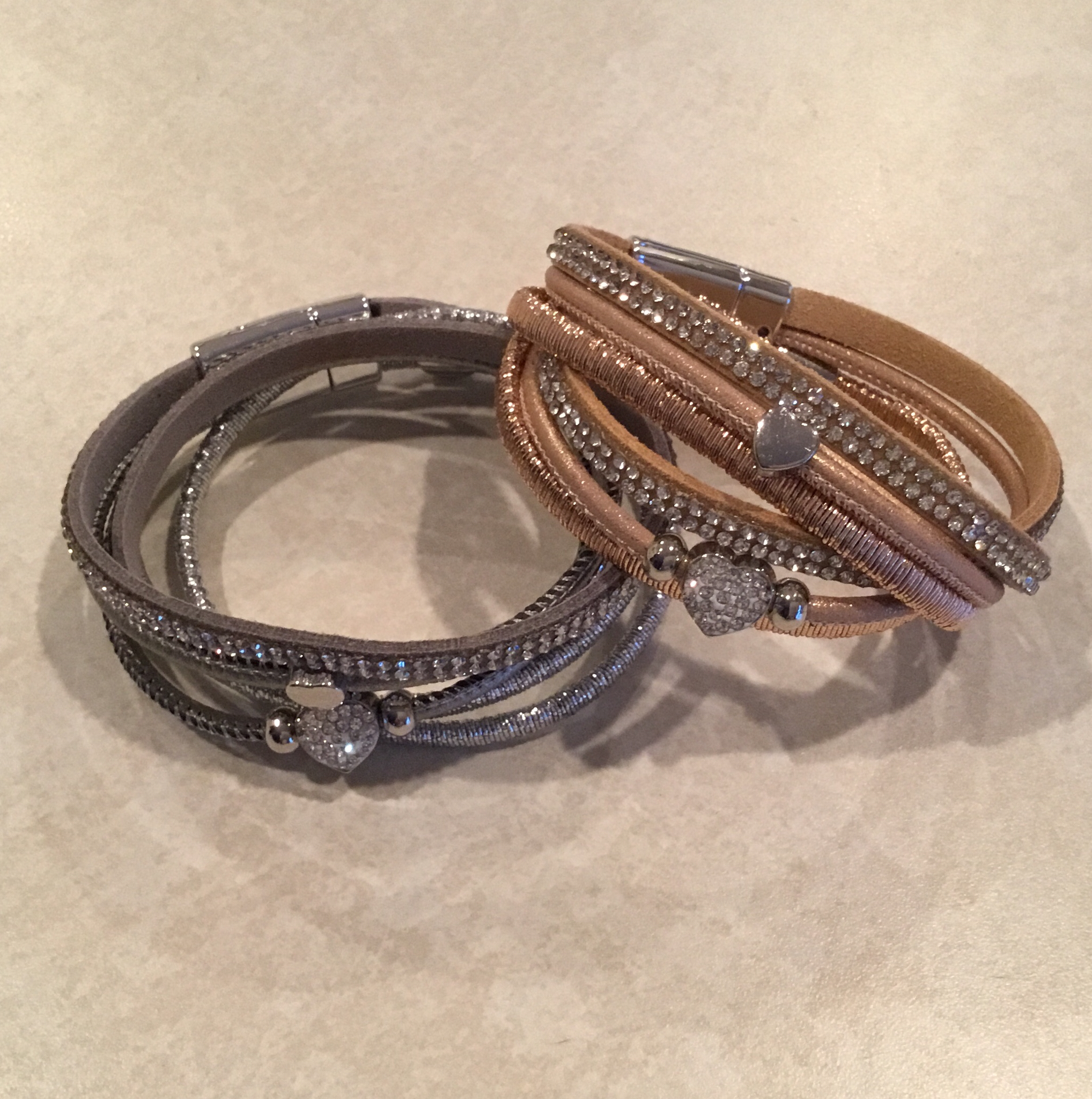 Leather Wrap Bracelet With Heart Bling in Dark Gray or Tan. JBR-026-6925