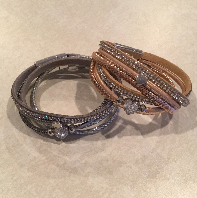 Leather Wrap Bracelet With Heart Bling in Dark Gray or Tan.