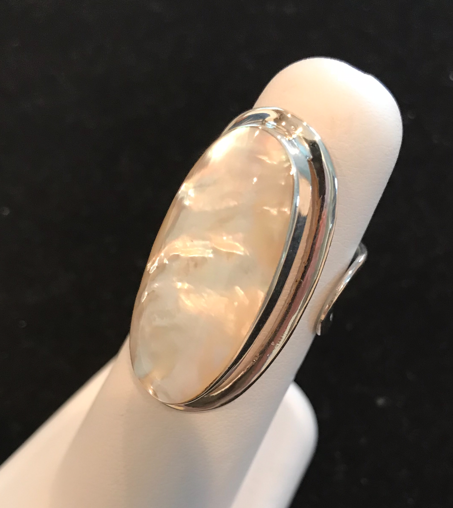 Large Oval Sterling Silver Adjustable Ring