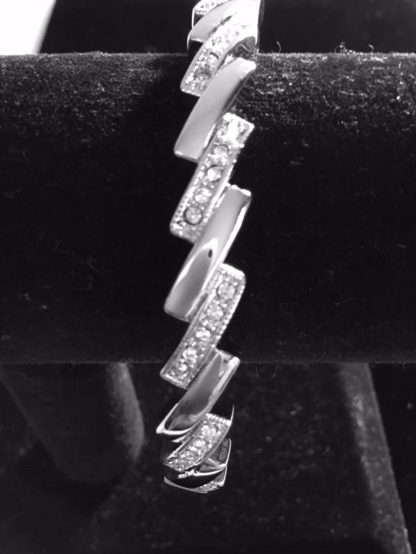 Angled Silver Crystal Bracelet