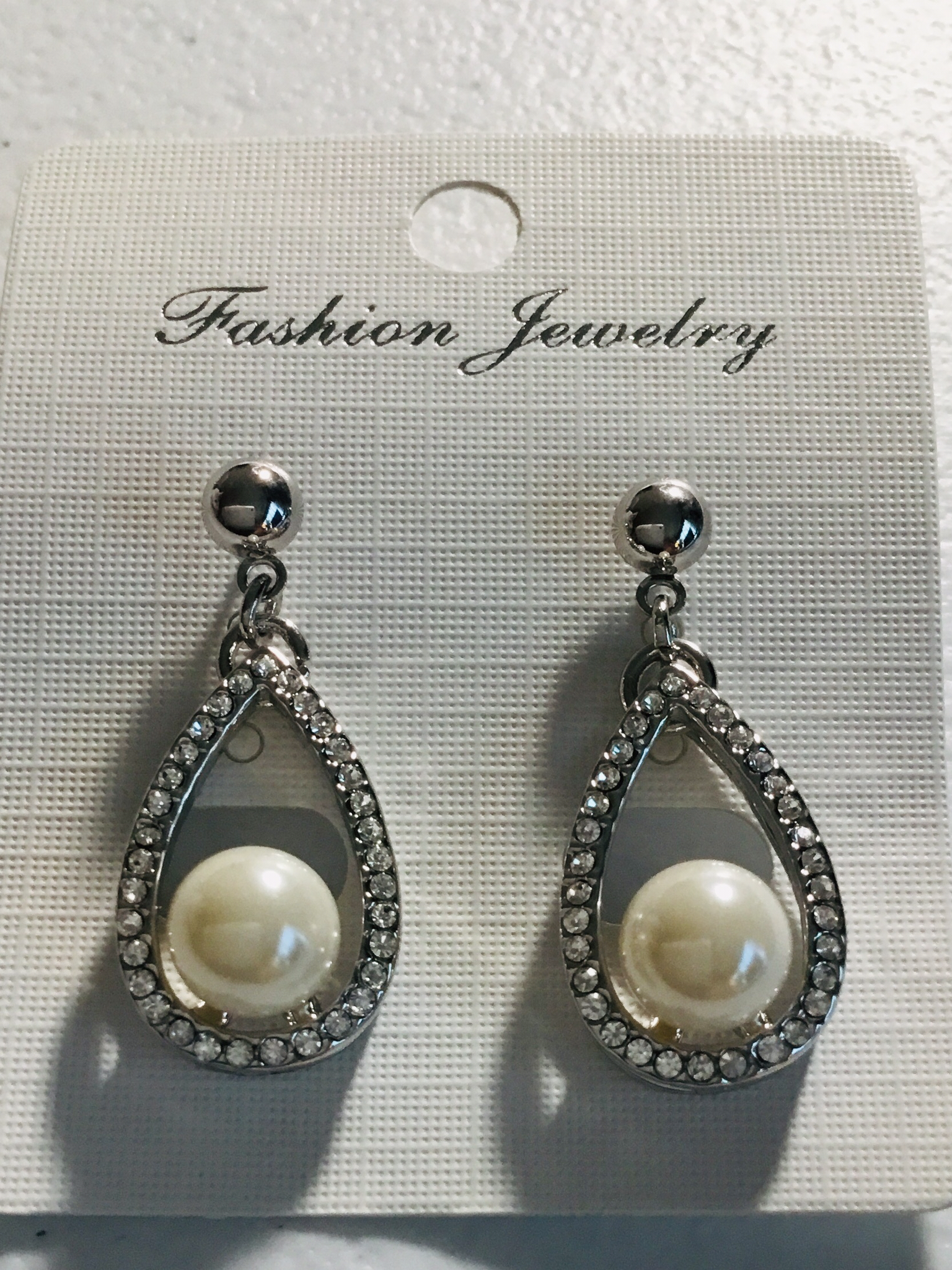 Silver Crystal with Pearl Earrings 100-AE87225