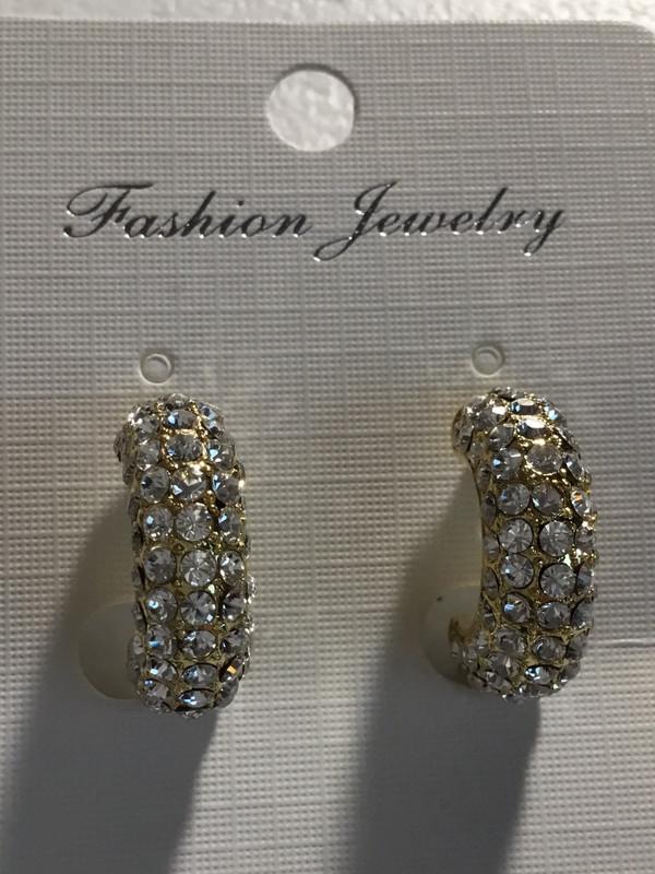 Gold Tone Crystal Earrings