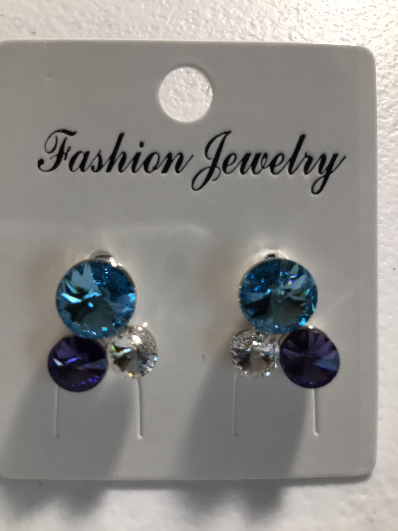 Three Crystal Blue, Clear And Lavender Earrings 100-AE87715