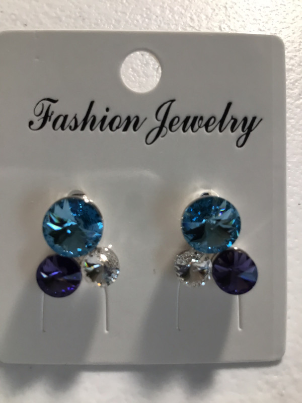 Three Crystal Blue, Clear And Lavender Earrings