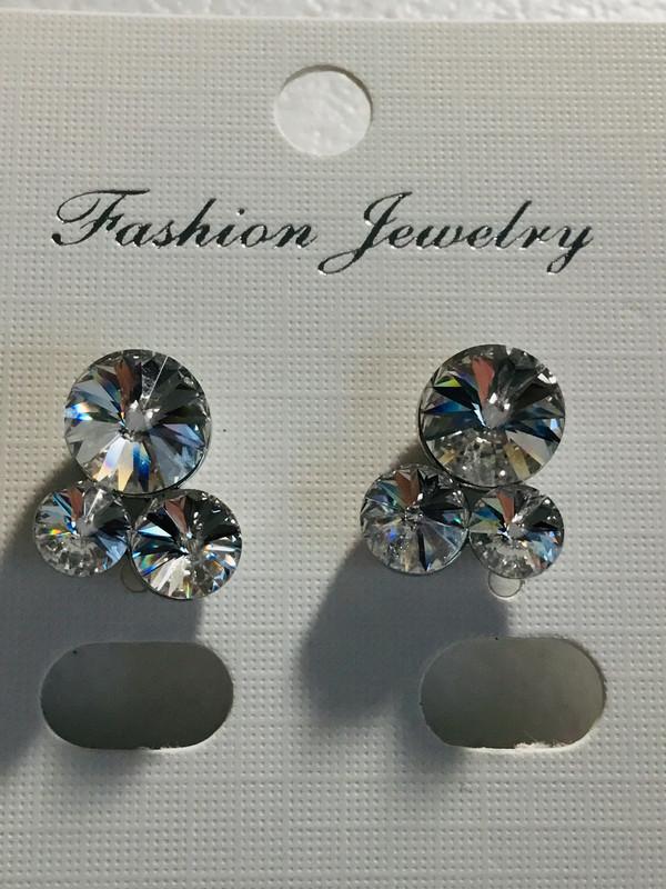Three Clear Crystal Earrings