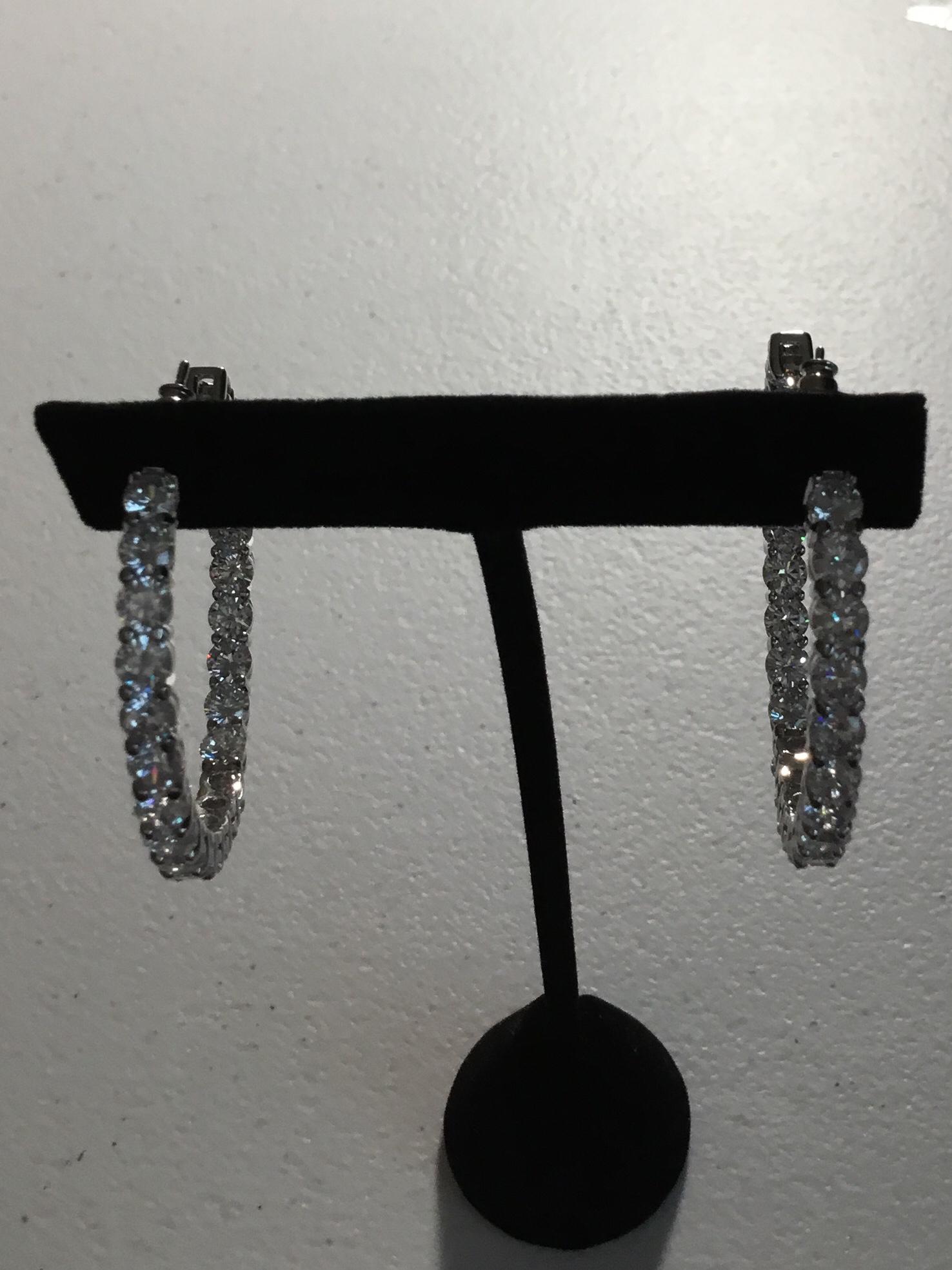 Silver Round Crystal Hoop Earrings 100-86221