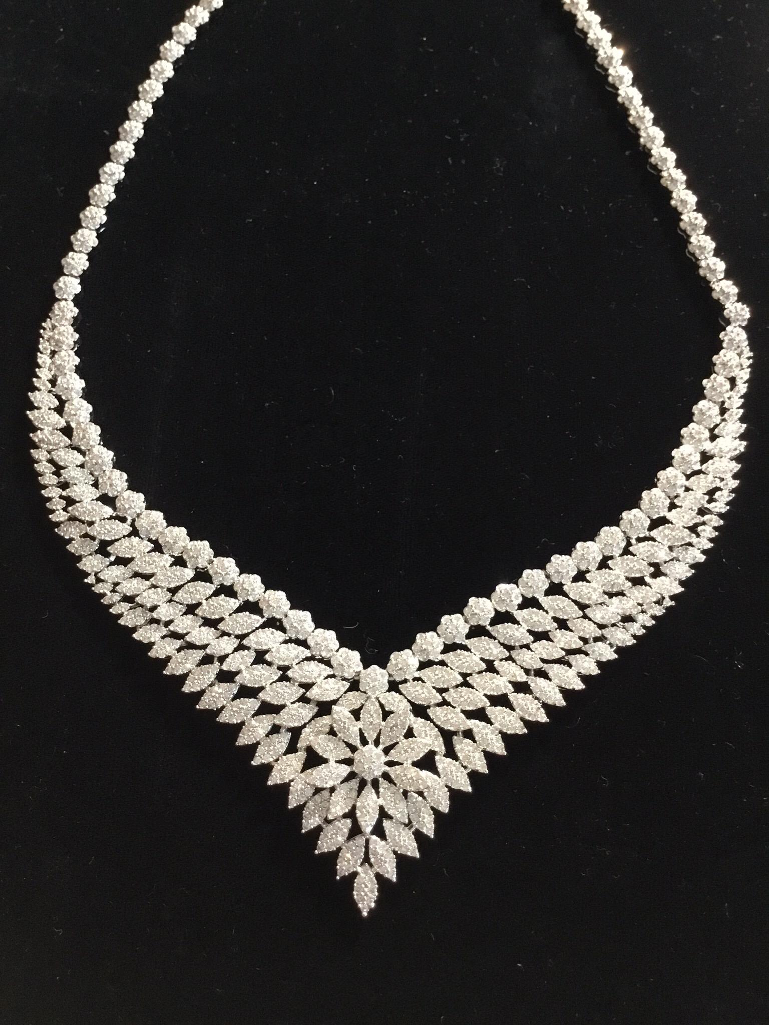 Elegant Crystal V-Flower Designer Necklace  100-09110