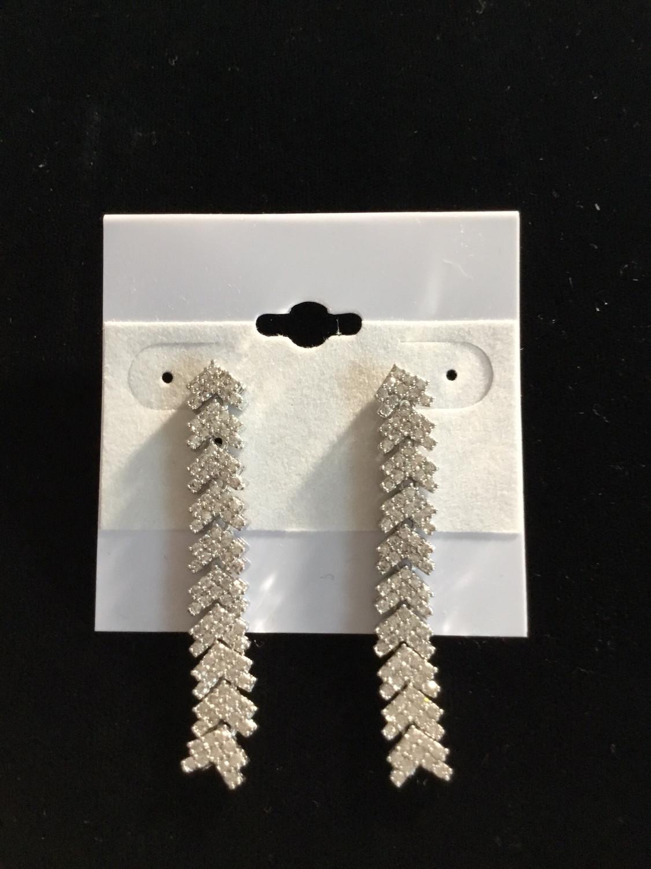 Silver Crystal Arrow Designer Earrings