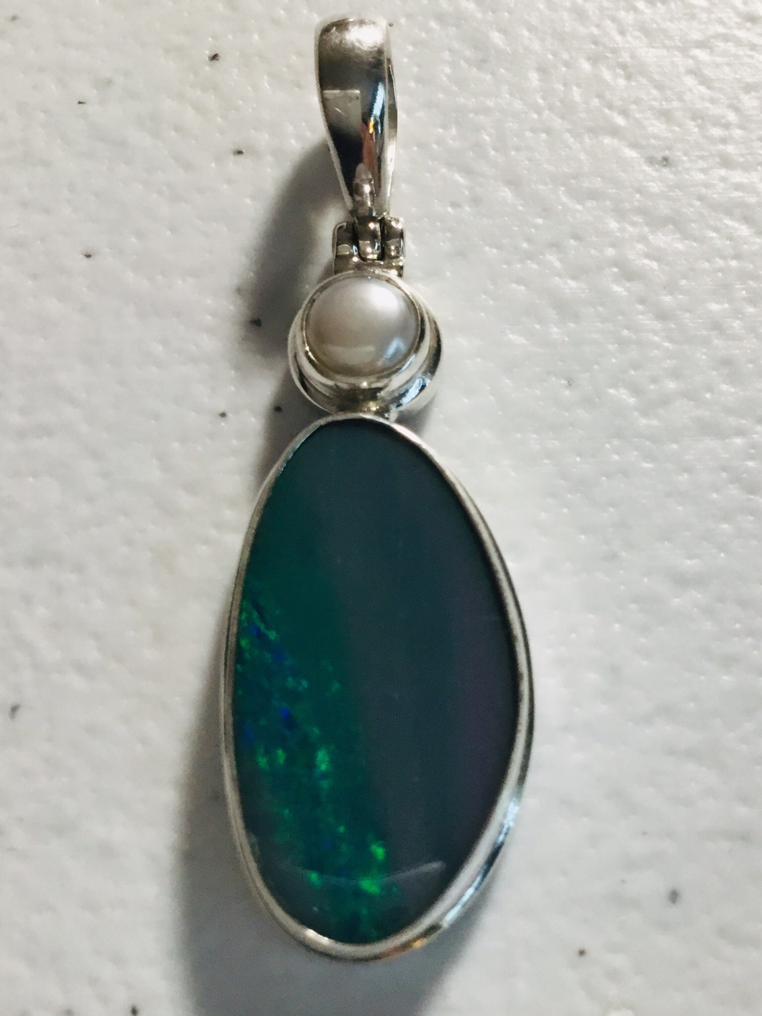 Sterling Silver Australian Opal With Pearl 102-PST-840-1