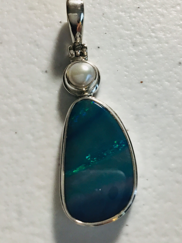Sterling Silver Australian Opal With Pearl 2