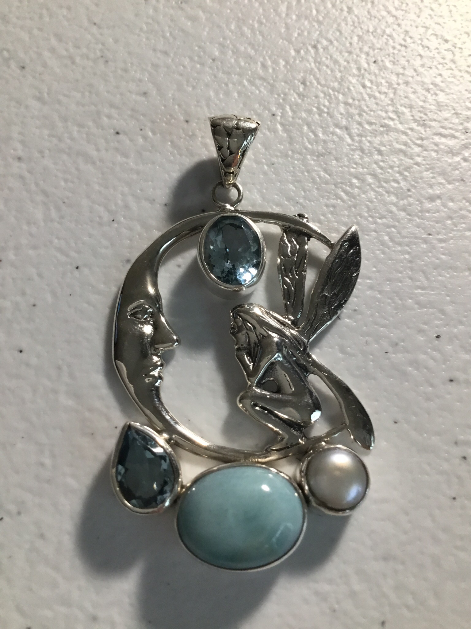 Sterling Silver Fairy With Larimar and Blue Topaz Pendant  102-PST-694
